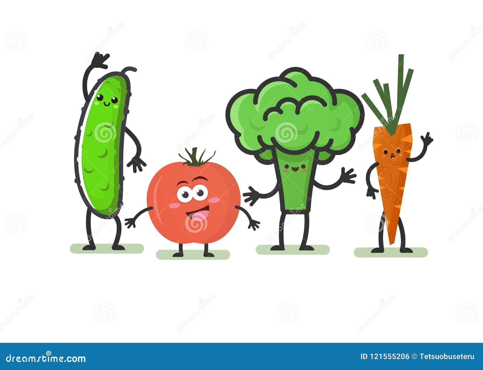 Kreskówek warzywa Uśmiechnięci śliczni charaktery: ogórek, pomidor, brokuły i marchewki odizolowywający na białym tle, Śmieszny k