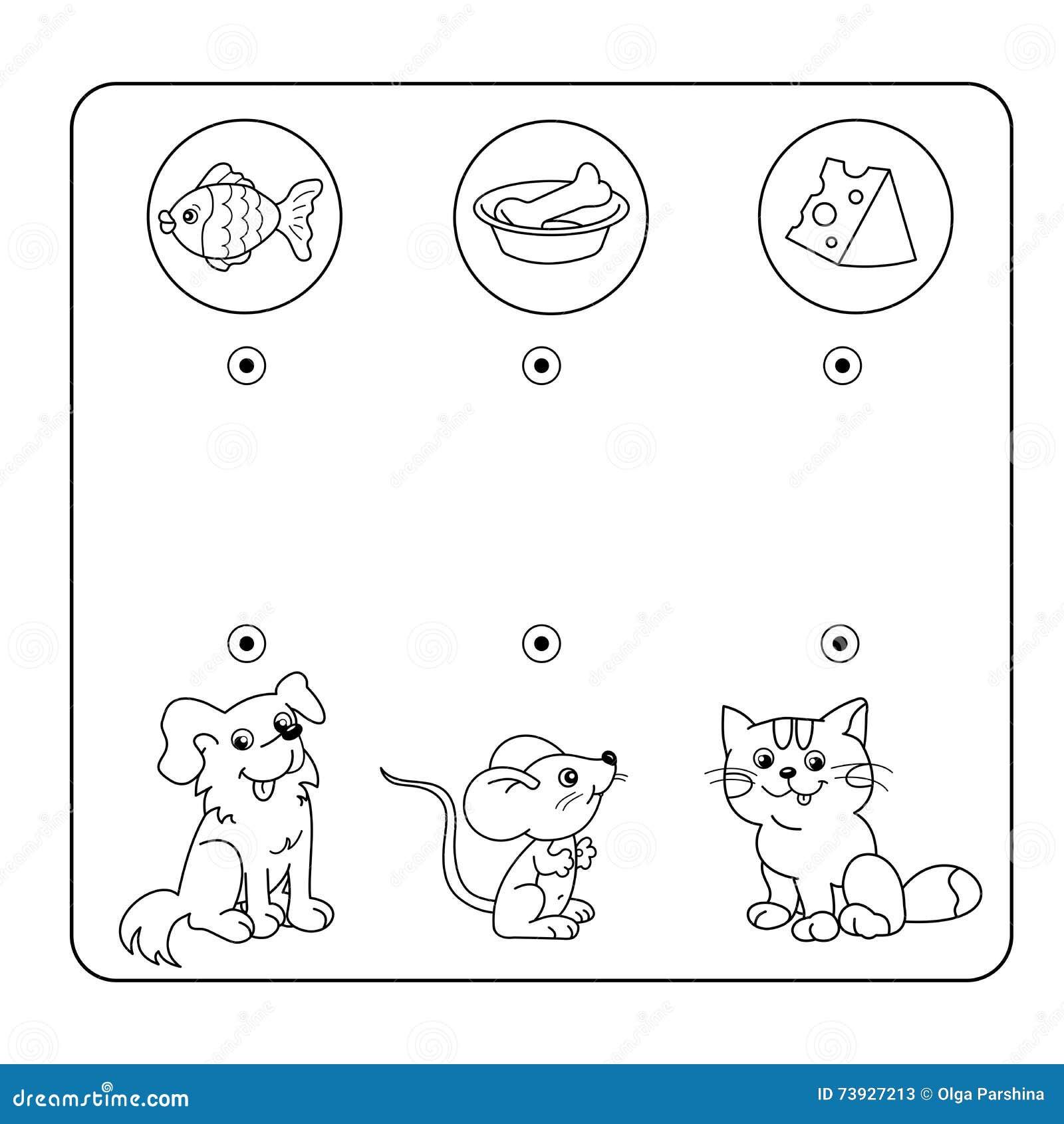 Kreskówek zwierzęta i ich Ulubiony jedzenie Labirynt lub labitynt gra dla Preschool dzieci Łamigłówka Kołtuniasta droga Dopasowyw