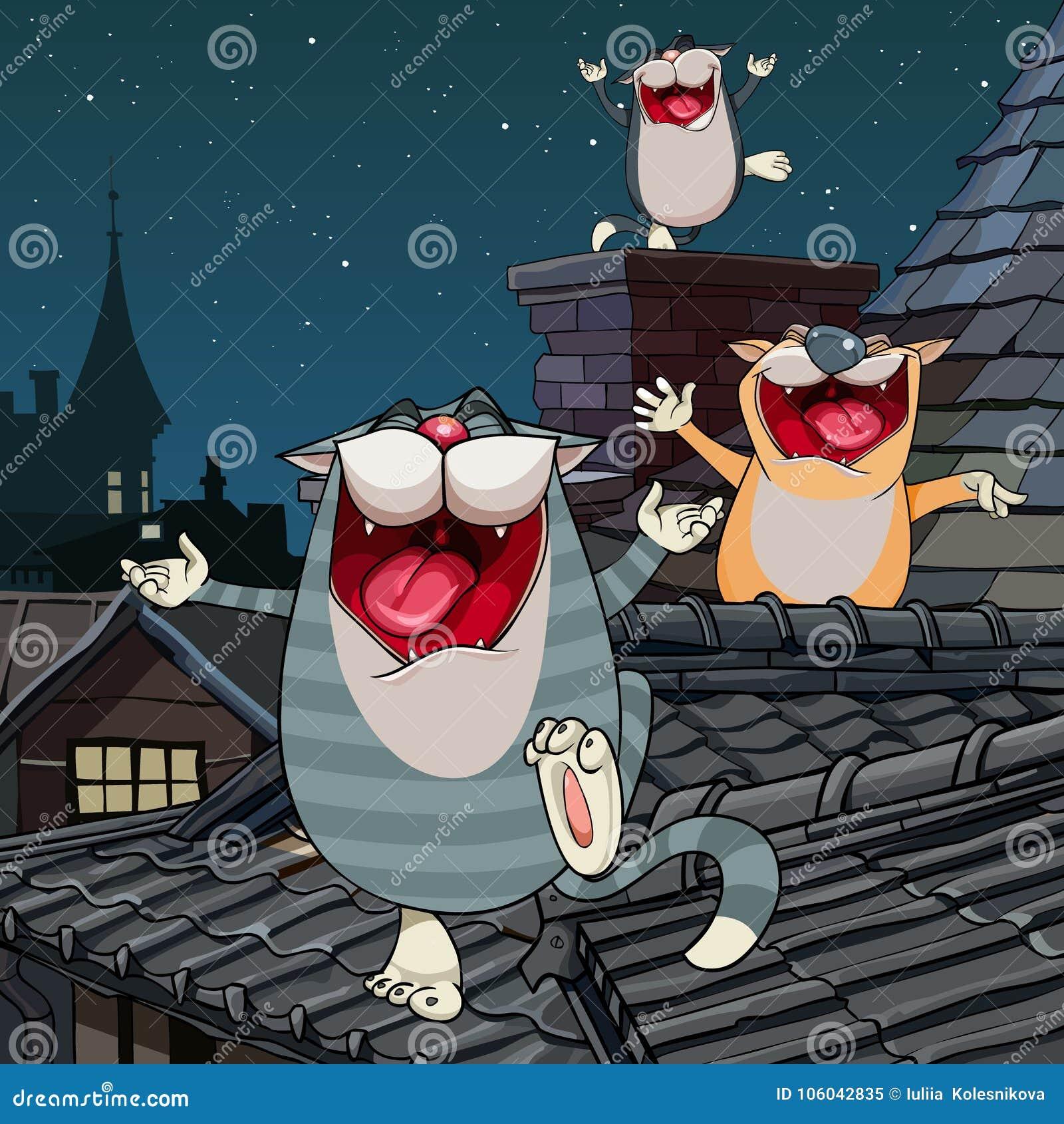 Kreskówka śmieszni koty wrzeszczy na dachu przy nocą