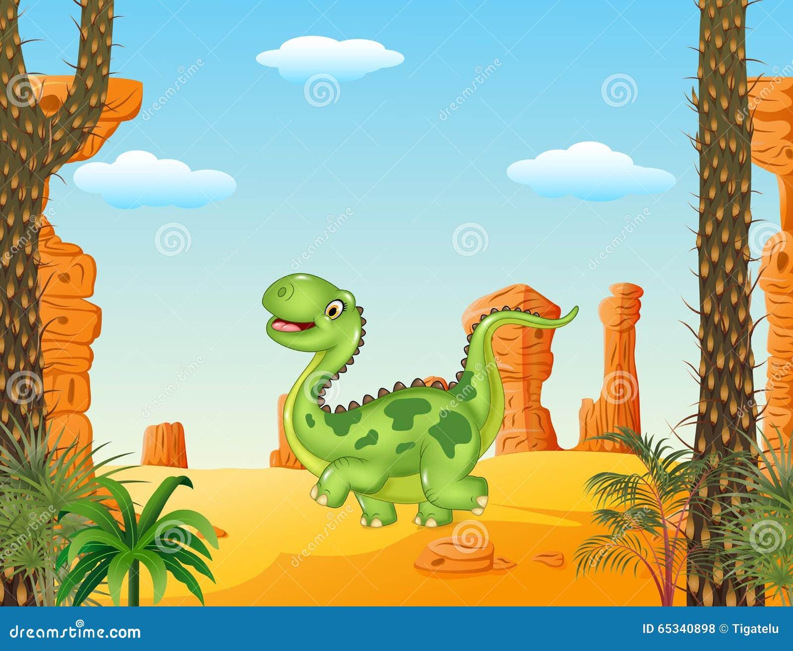 Kreskówka śmieszny chodzący dinosaur w pustynnym tle