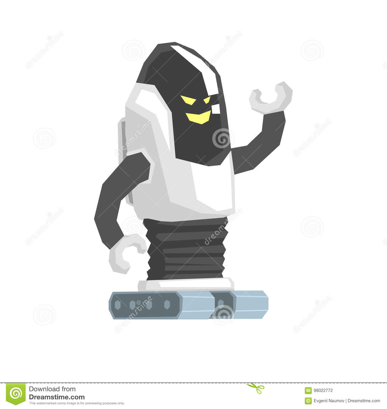 Kreskówka śpioszka robota cyborga charakteru wektoru ilustracja