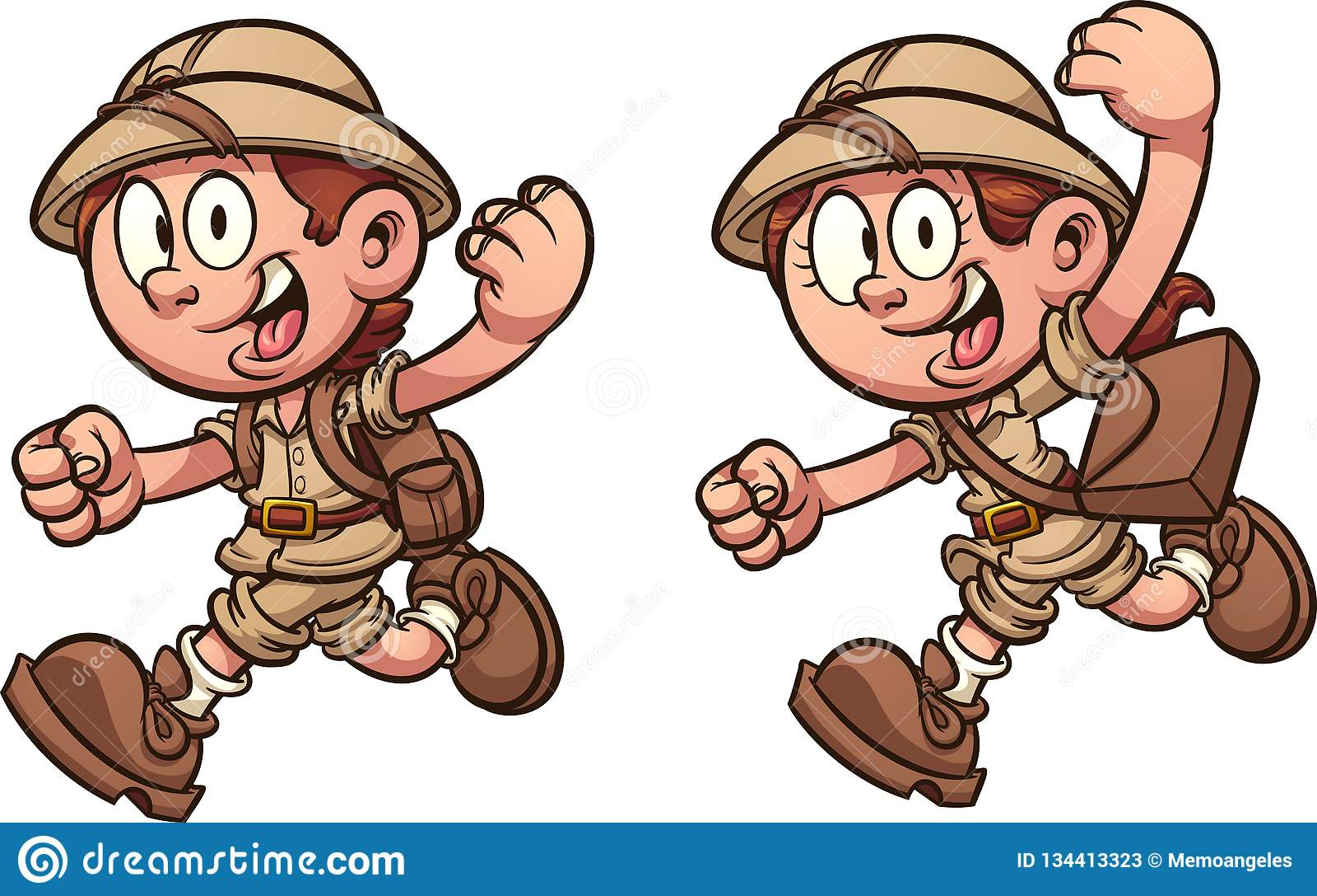Kreskówka żartuje bieg z safari kostiumami