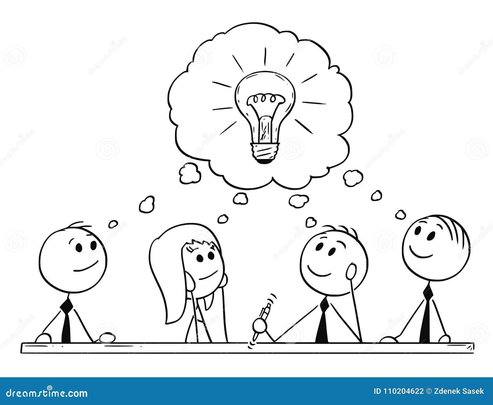 Kreskówka biznes drużyny Brainstorming i spotkanie
