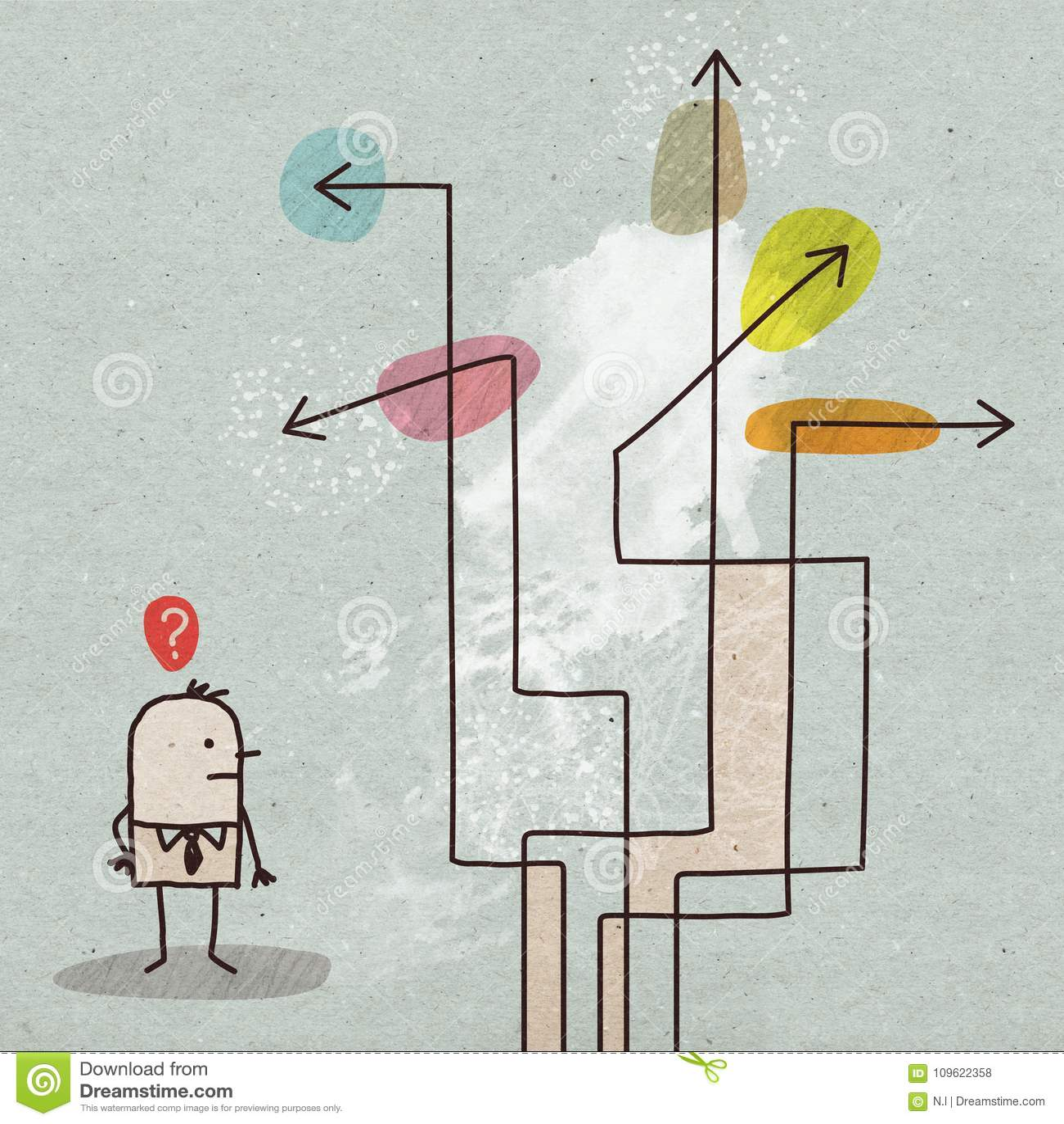 Kreskówka biznesmen Wybiera kierunek