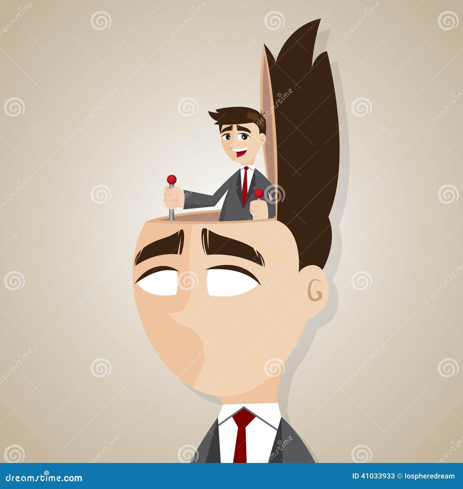 Kreskówka biznesmena kontrolna głowa