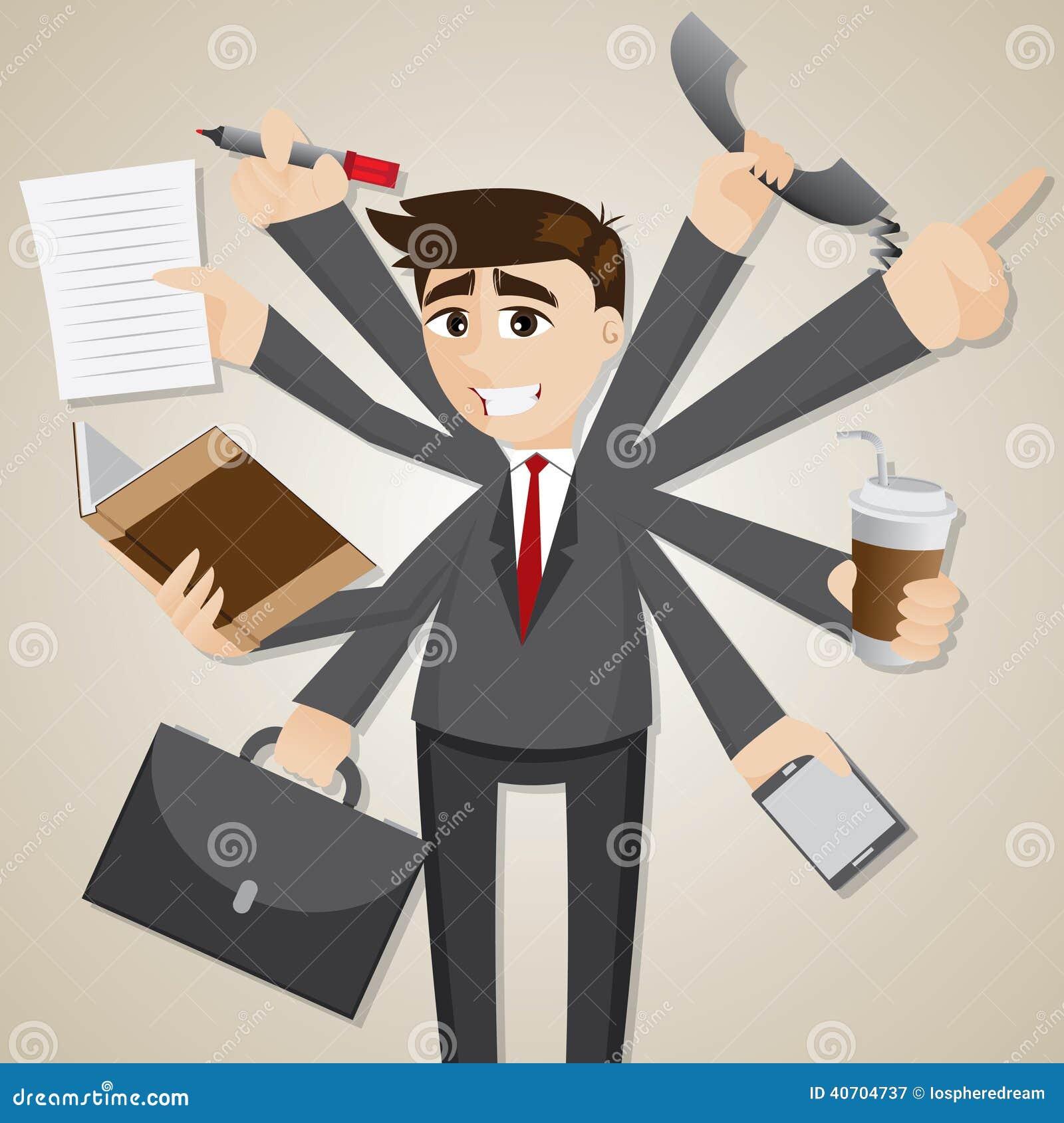 Kreskówka biznesmena wielo- dawać zadanie
