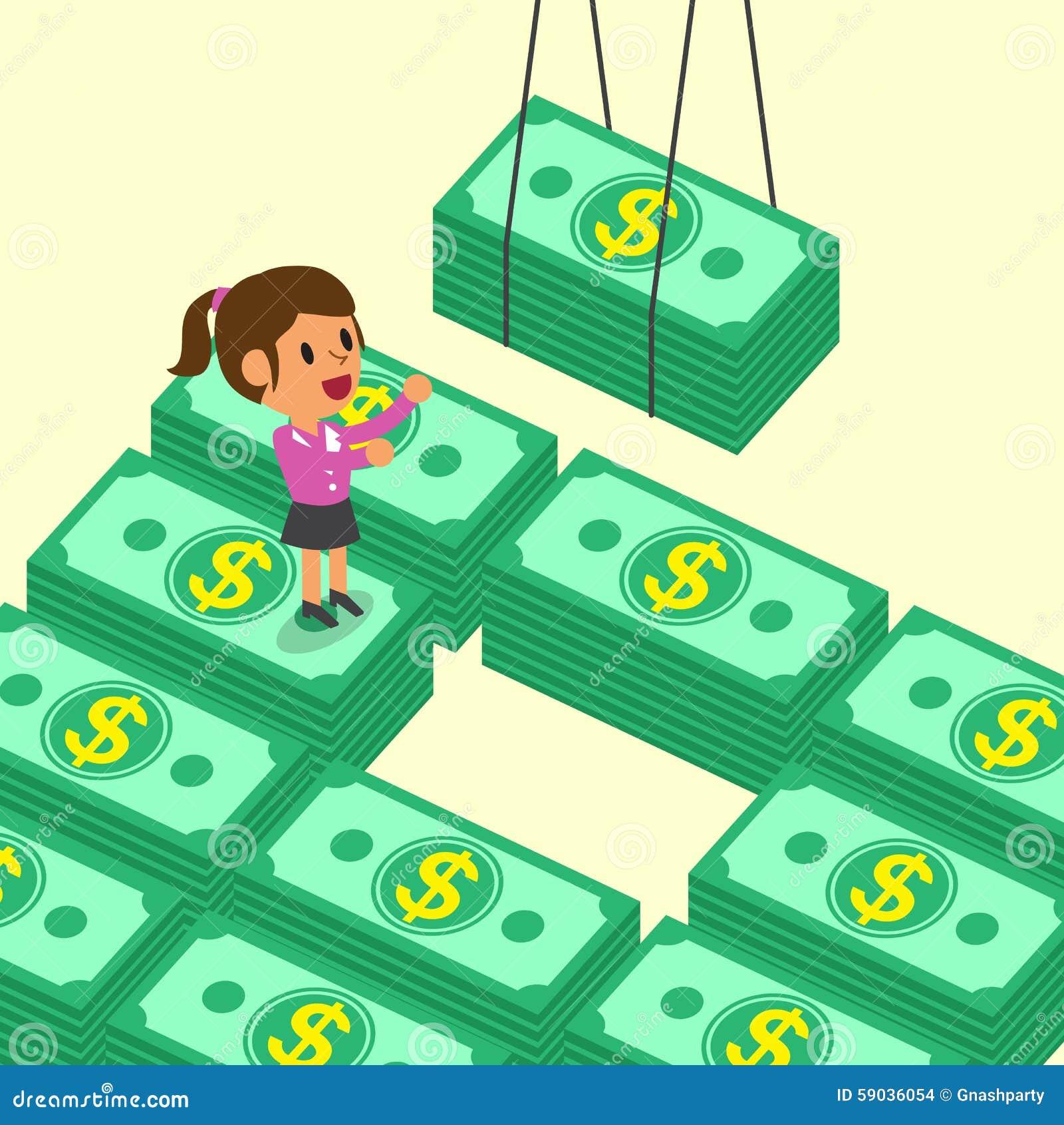 Kreskówka bizneswomanu pieniądze odbiorcze sterty