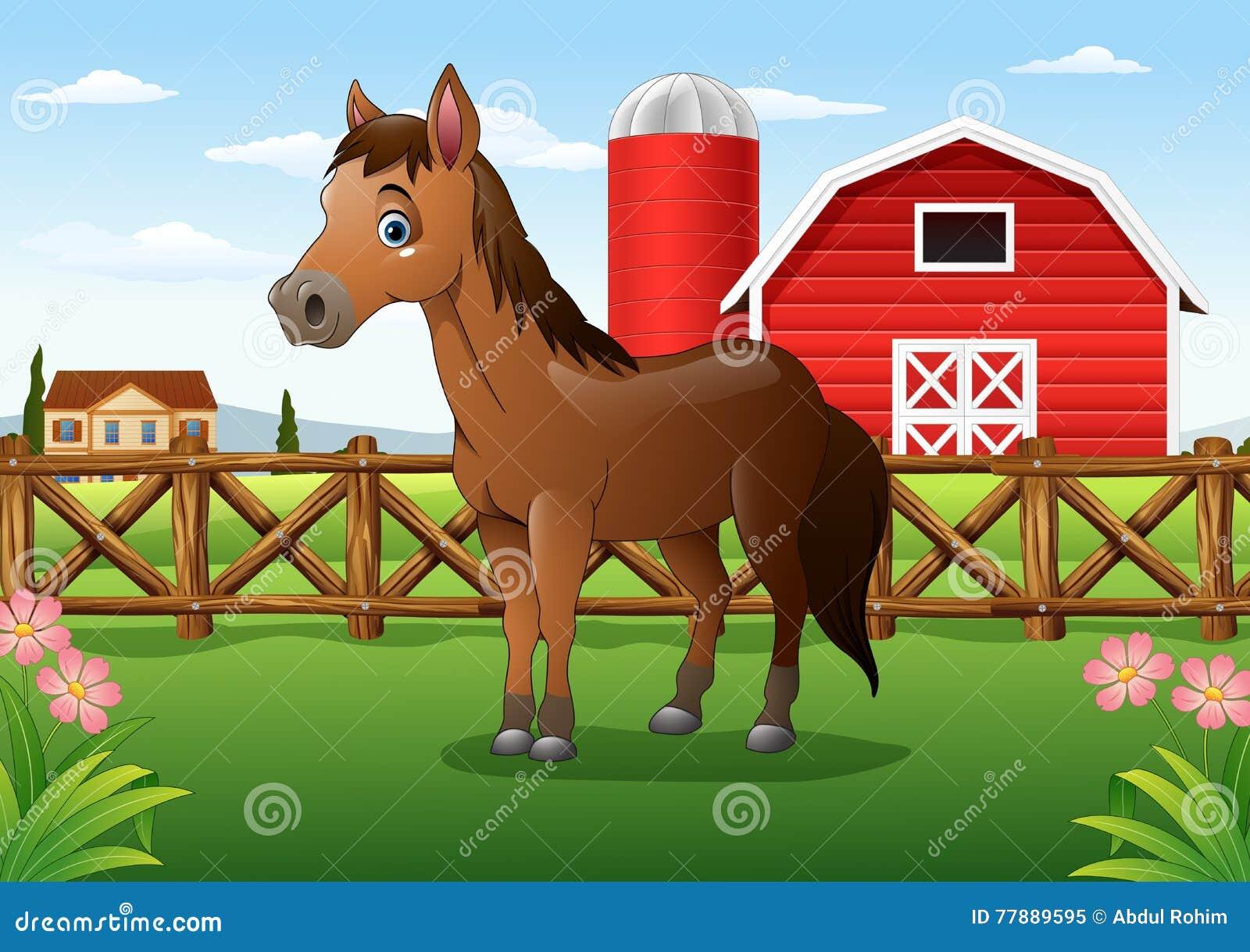 Kreskówka brown koń w gospodarstwie rolnym