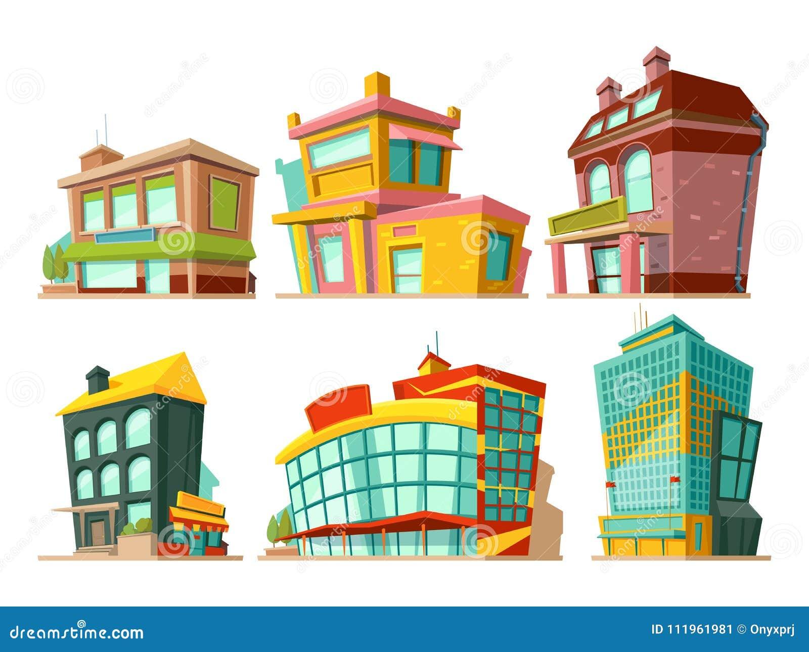 Kreskówka budynki Wektorowe ilustracje ustawiać odizolowywają na bielu