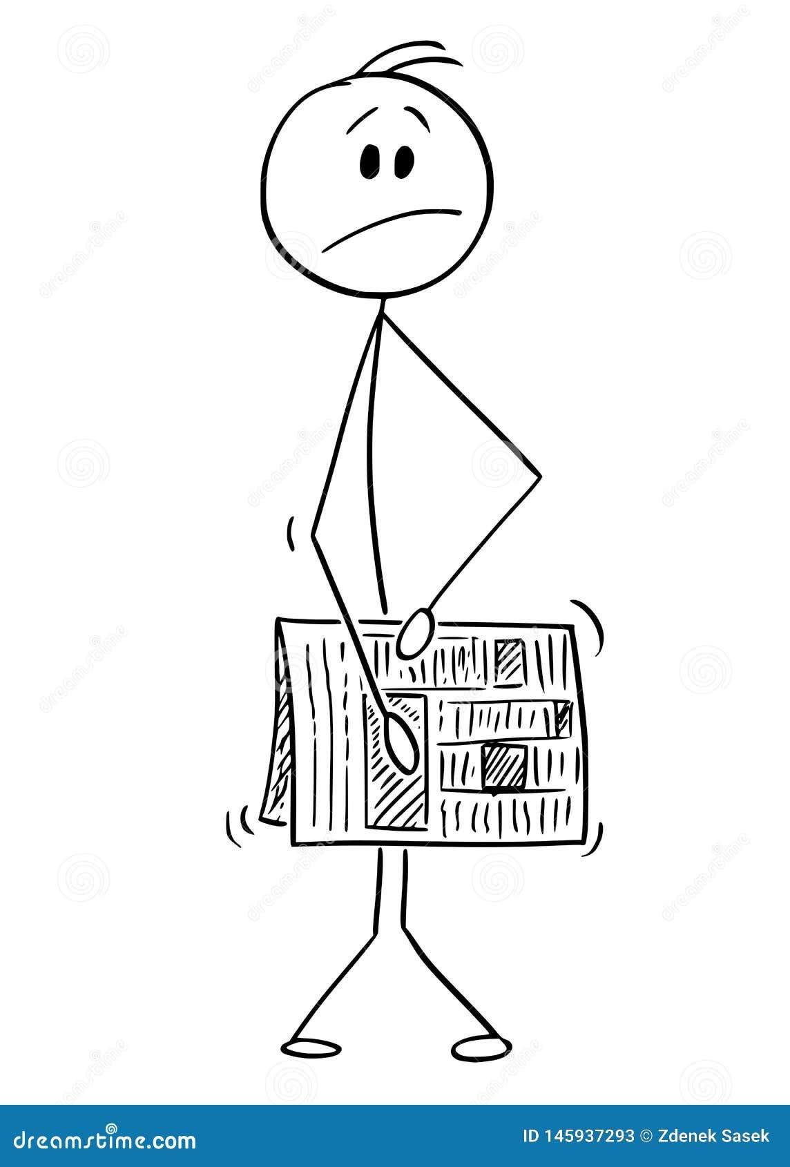 Kreskówka Chuje i Zakrywa gazetą Nagi mężczyzna Jego genitalie, Crotch lub pachwina lub
