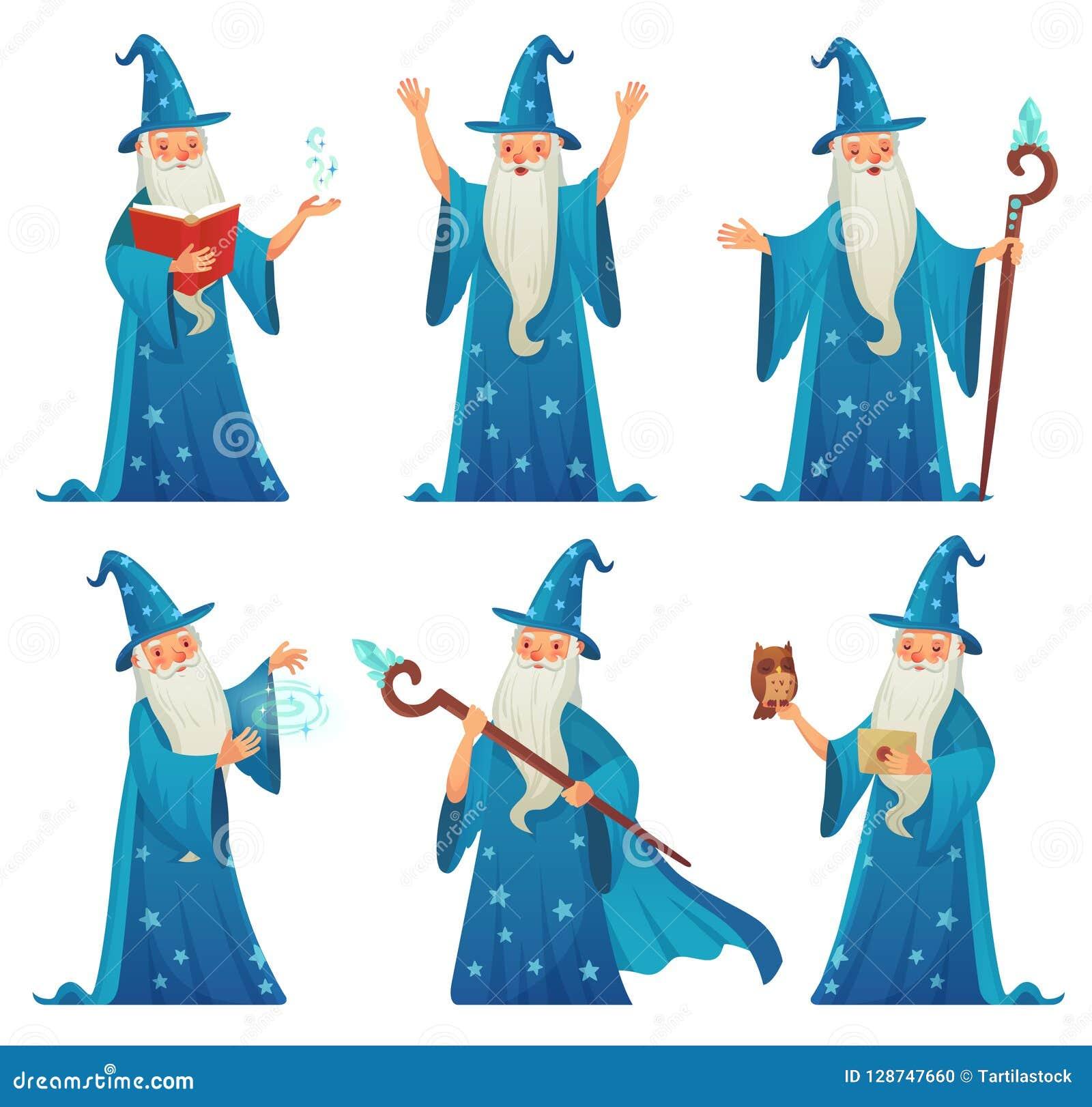 Kreskówka czarownika charakter Stary czarownica mężczyzna w czarownikach kontusze, magika warlock i magicznym średniowiecznym cza