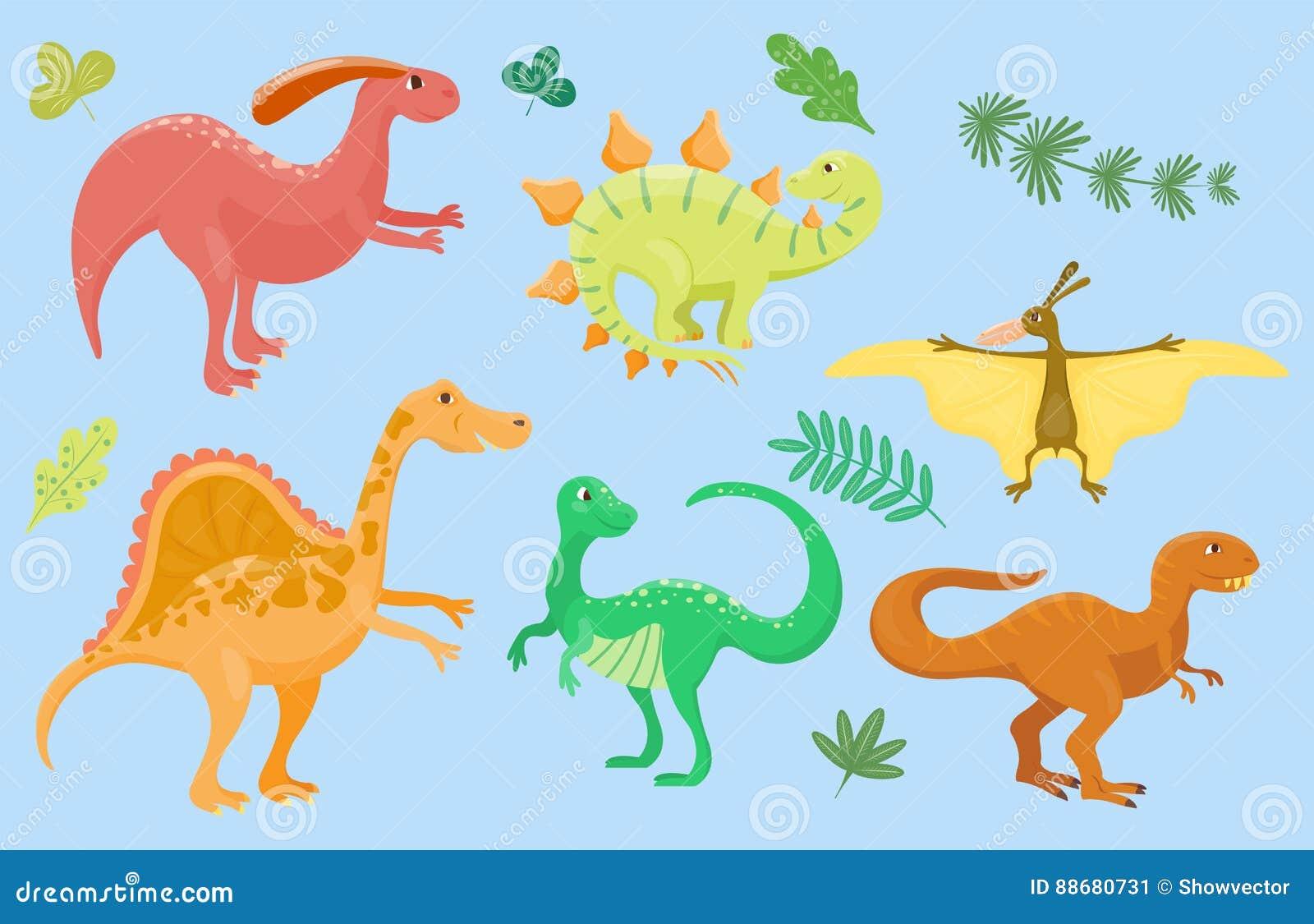 Kreskówka dinosaurów wektorowego ilustracyjnego potwora Dino charakteru gada zwierzęcy prehistoryczny drapieżnik jurassic