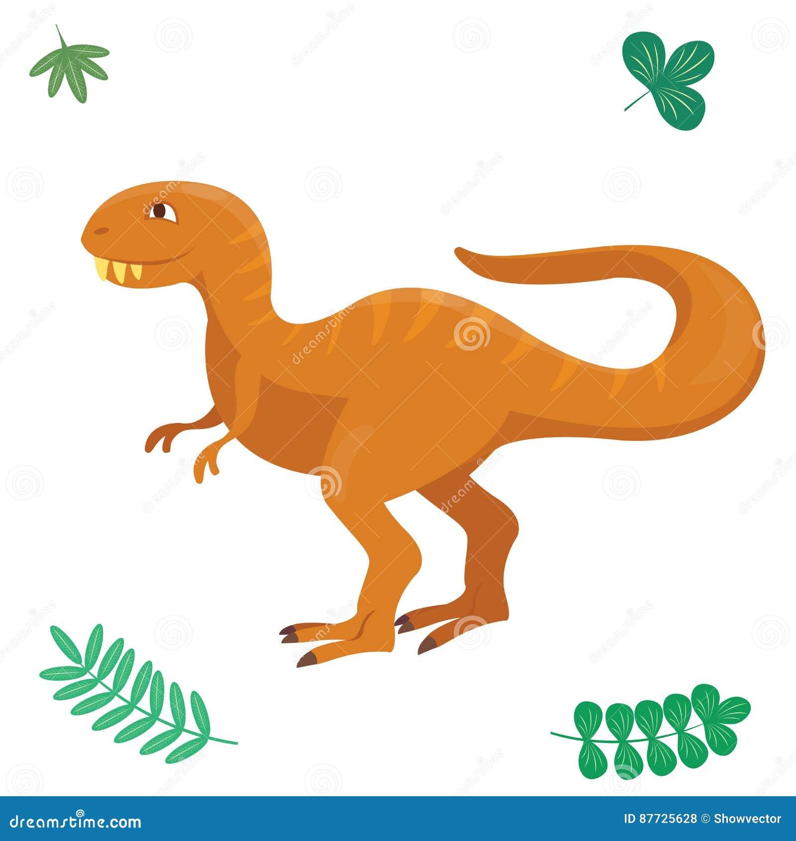 Kreskówka dinosaura wektorowa ilustracja odizolowywał potwora Dino charakteru gada zwierzęcego prehistorycznego drapieżnika juras