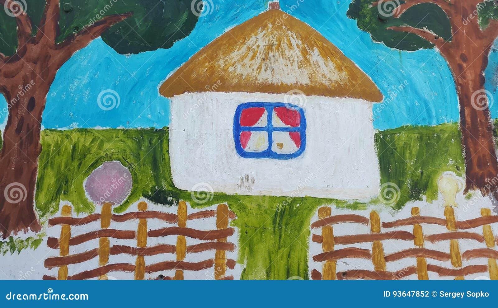 Kreskówka dom w etnicznym stylu Autentyczny projekt