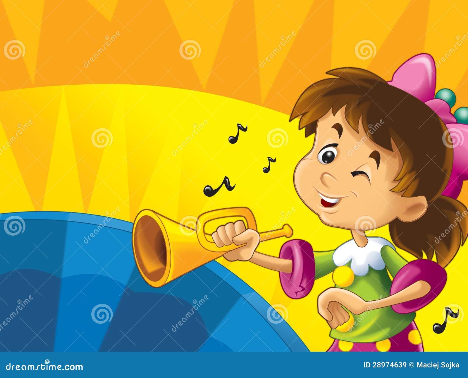 Kreskówka dzieciaki z instrumentami - musicalu szczęście na barwionym dynamicznym tle i znaki