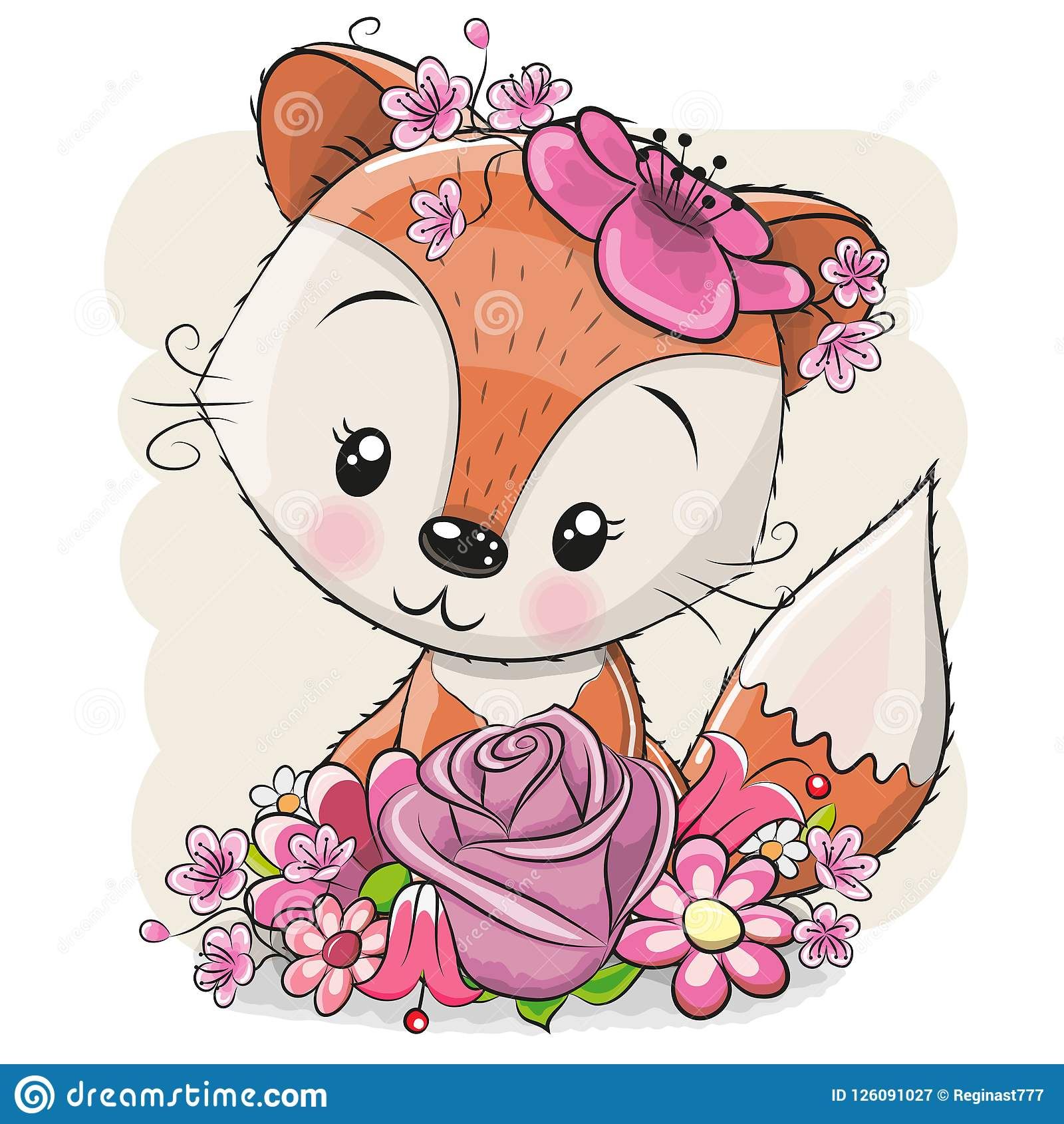Kreskówka Fox z flowerson biały tło