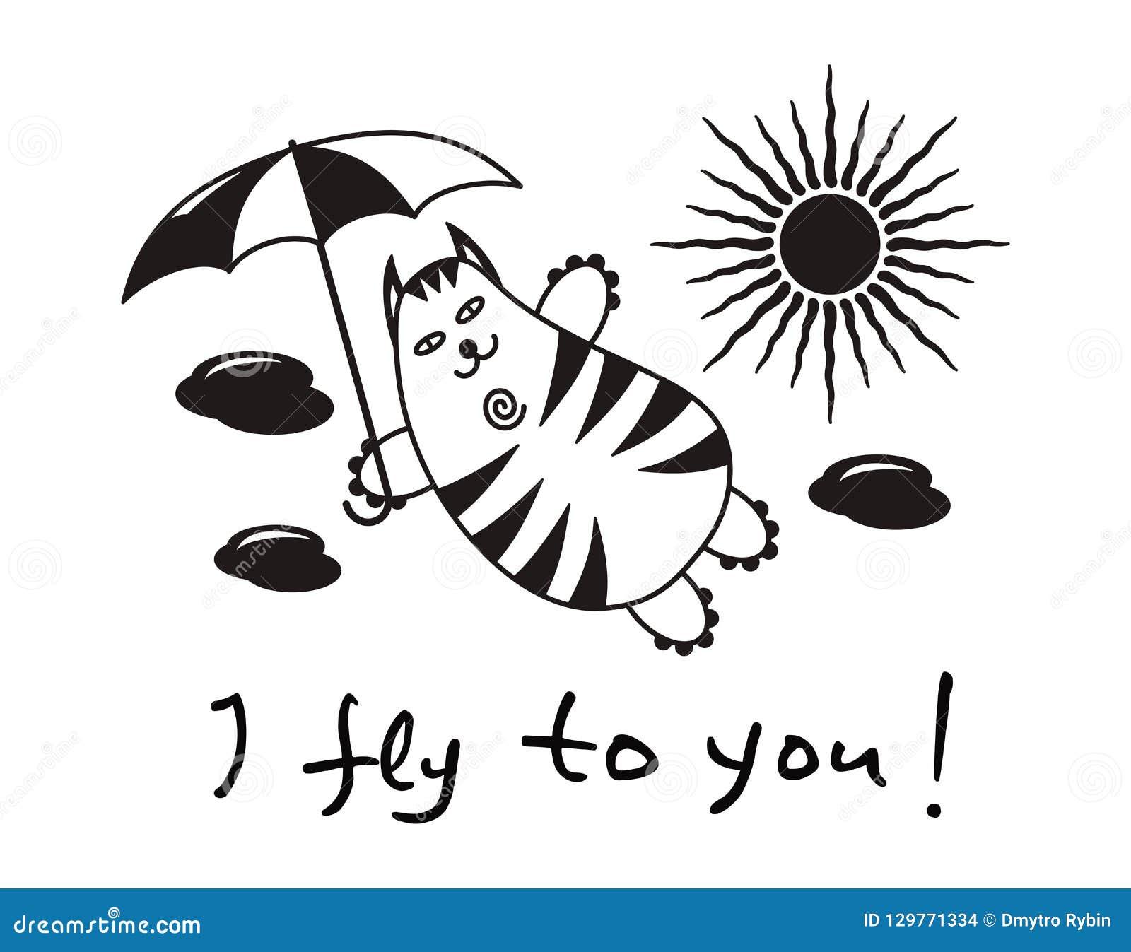 """Kreskówka komiczny kot z parasolowym lataniem w chmurach Teksta †""""latam ty"""