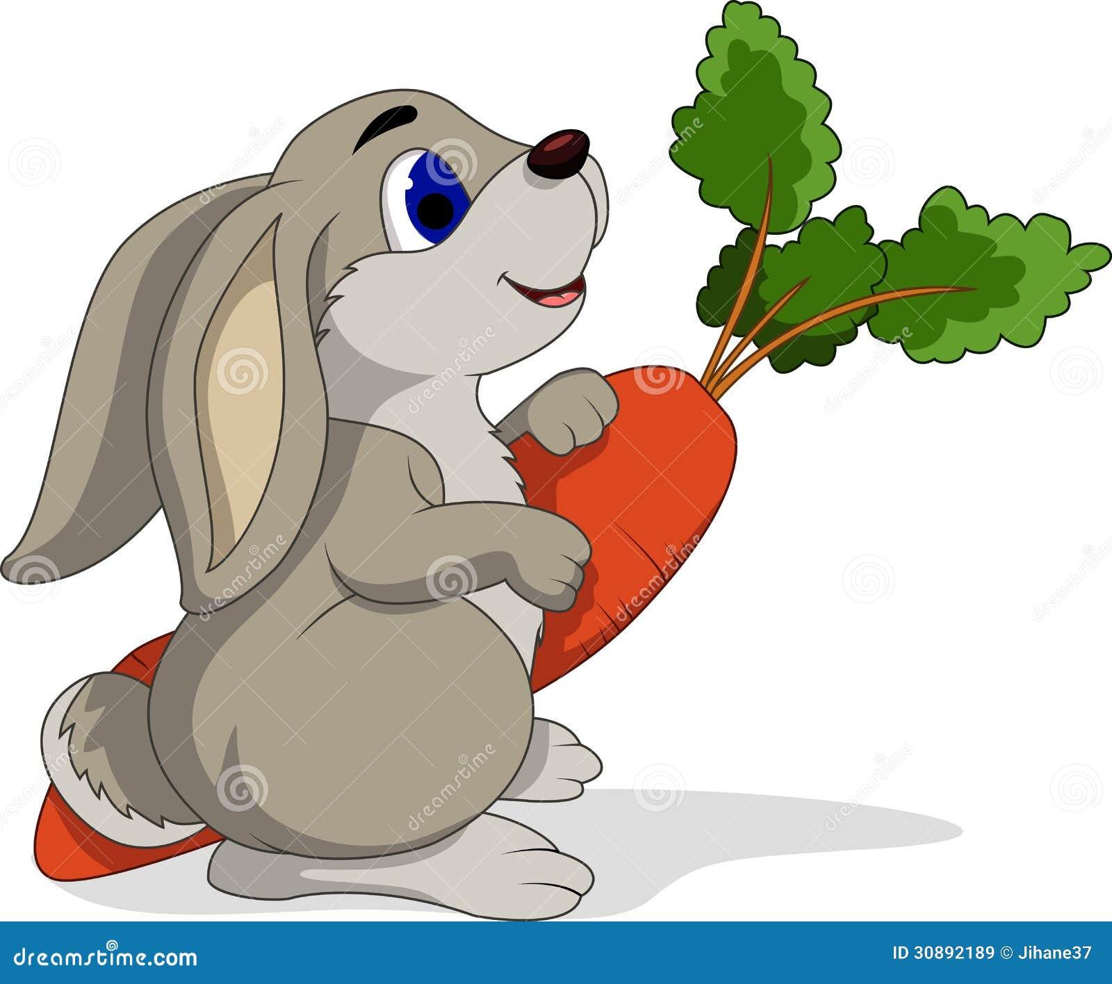 Kreskówka królika mienia marchewki