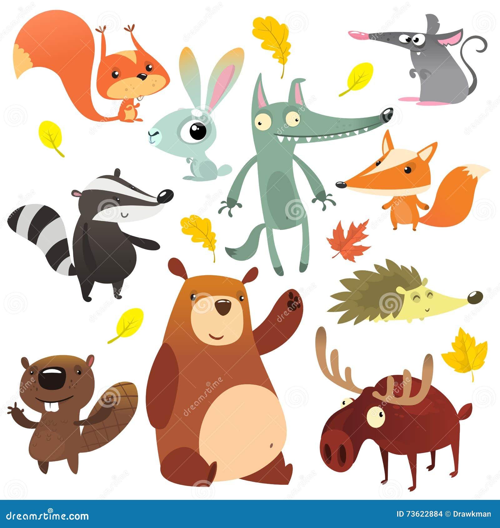 Kreskówka lasowi zwierzęcy charaktery Dzikie kreskówek zwierząt kolekcje wektorowe Wiewiórka, mysz, borsuk, wilk, lis, bóbr, nied