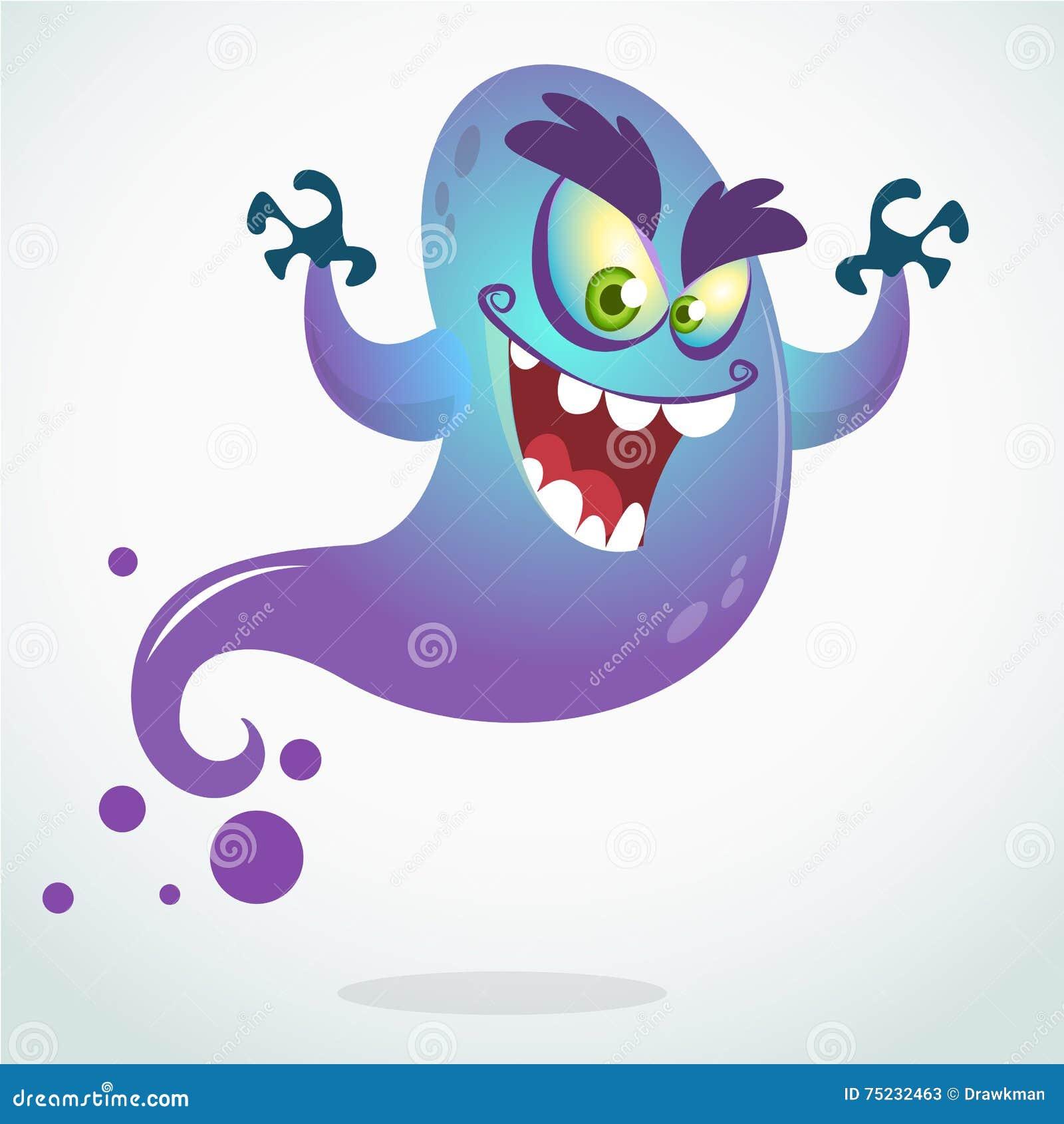 Kreskówka latający potwór Wektorowa Halloweenowa ilustracja uśmiechnięty purpurowy duch z rękami up