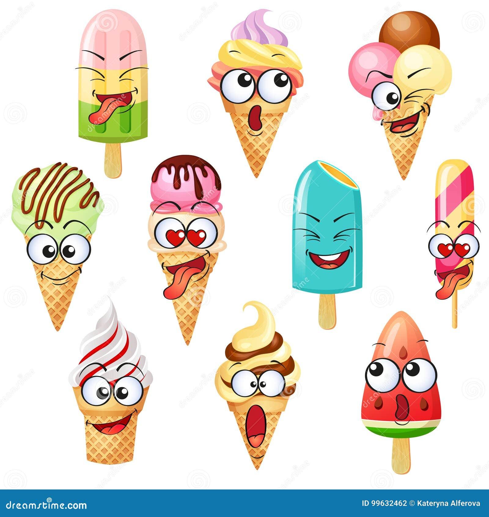 Kreskówka lody charaktery, emoticons