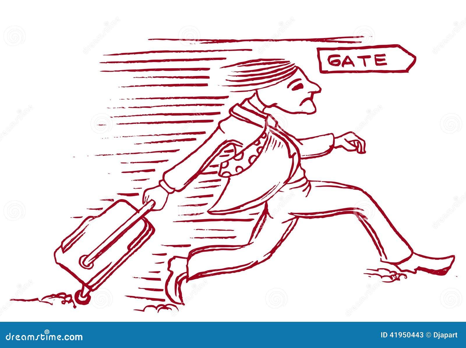 Kreskówka mężczyzna biega lot brama