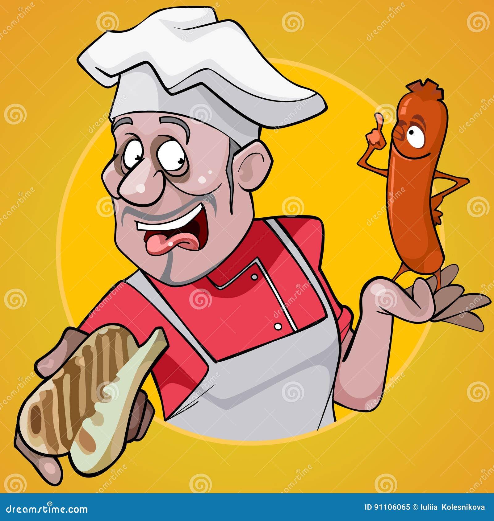 Kreskówka męski szef kuchni trzyma kiełbasę na żółtym tle i babeczkę