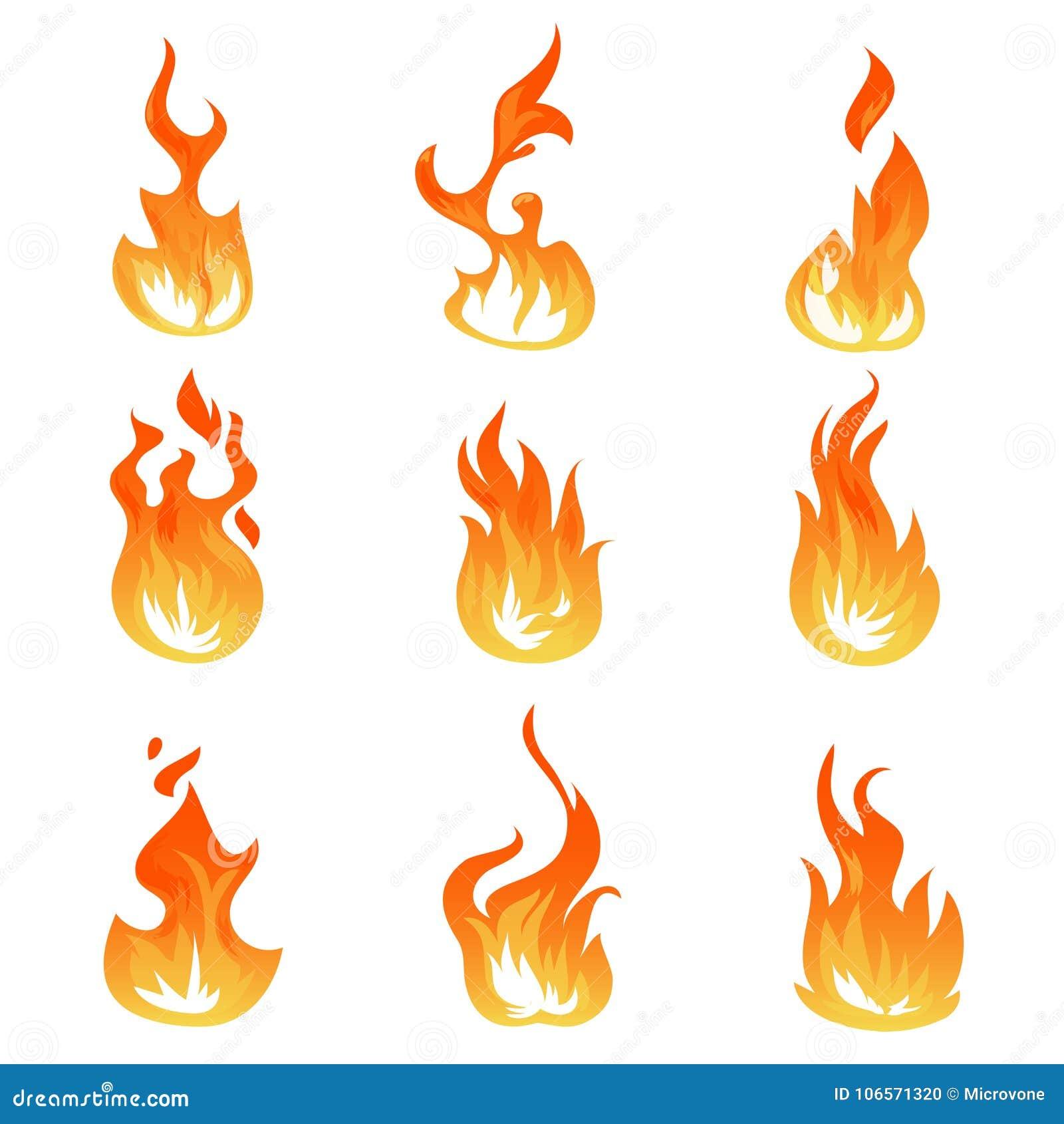 Kreskówka ogień płonie wektoru set Zapłonowy lekki skutek, płomienni symbole
