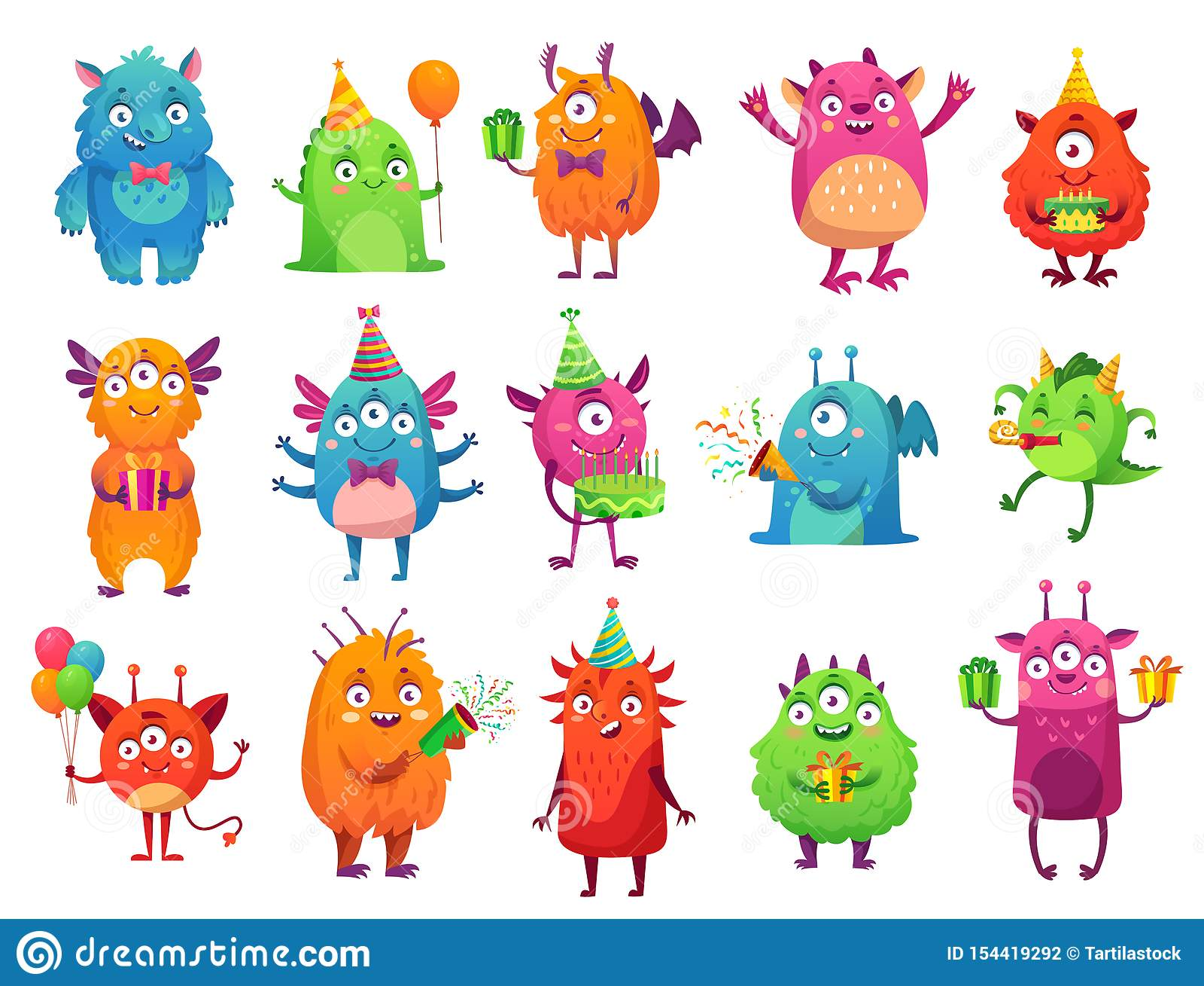 Kreskówka partyjni potwory Śliczni potwora wszystkiego najlepszego z okazji urodzin prezenty, śmieszna obca maskotka i potwór z p