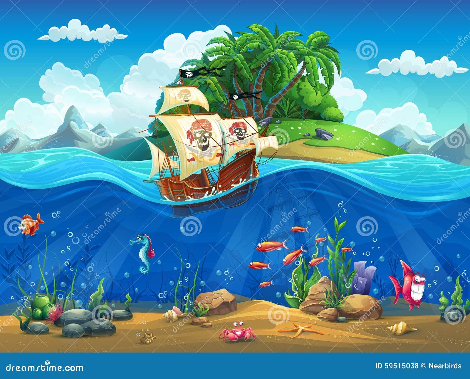Kreskówka podwodny świat z ryba, roślinami, wyspą i statkiem,