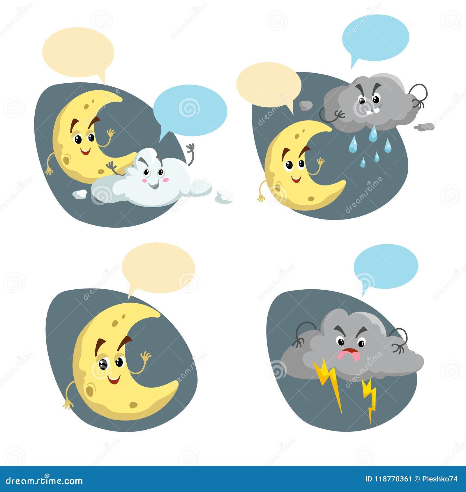 Kreskówka pogodowi charaktery ustawiający Życzliwa półksiężyc księżyc, podeszczowa chmura z raindrops i burza, chmurniejemy z bły