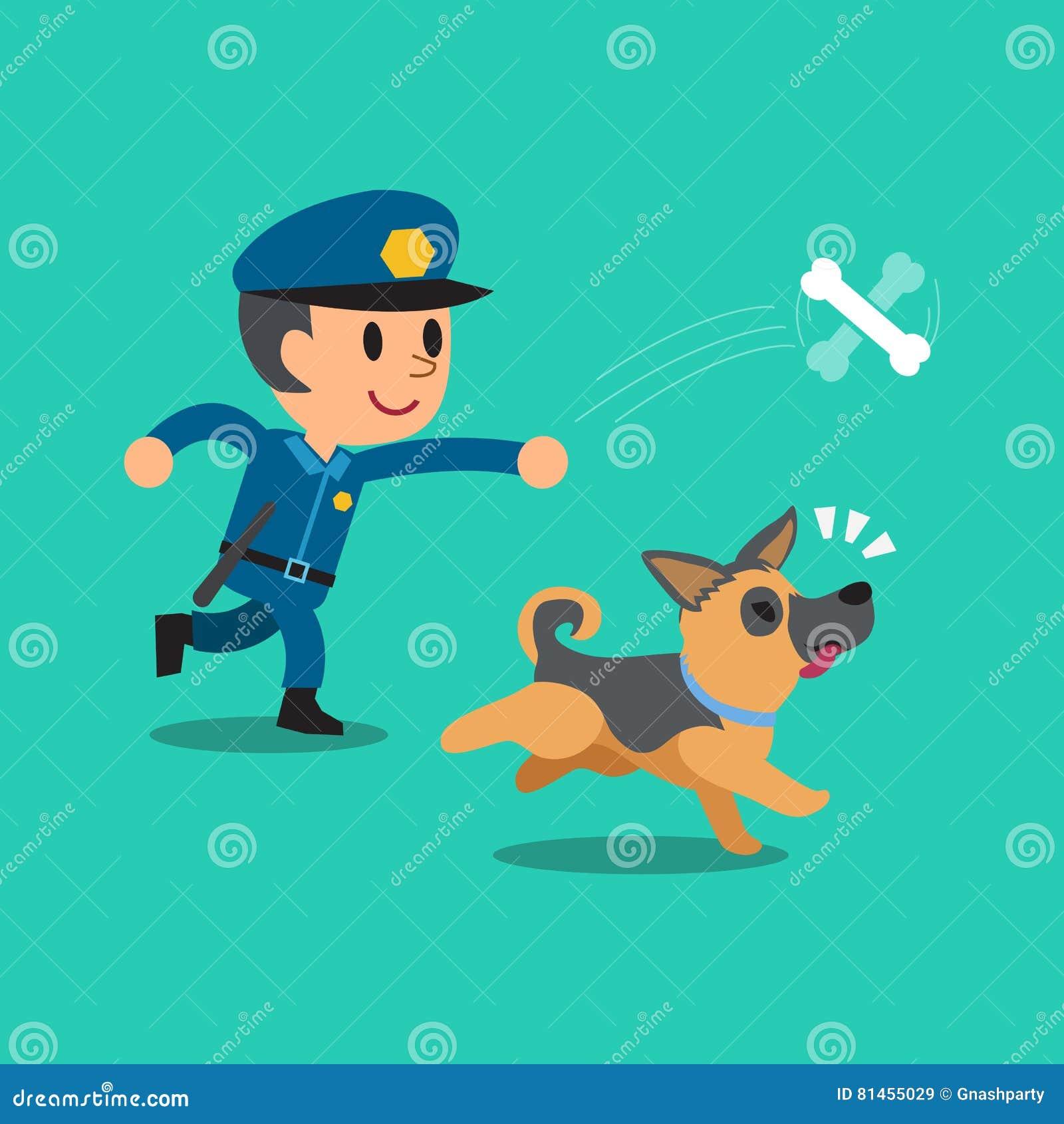 Kreskówka pracownika ochrony policjant bawić się z jego psem