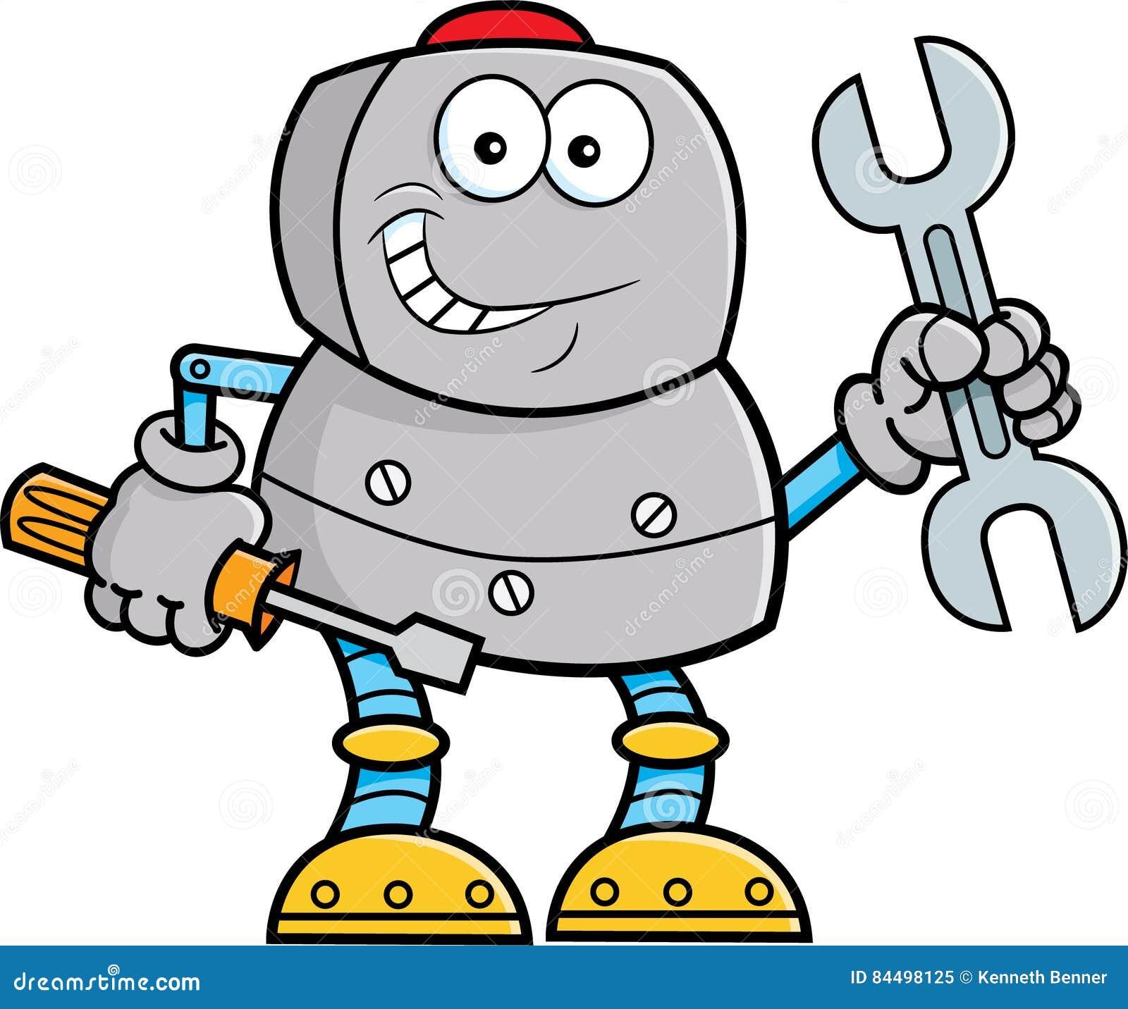Kreskówka robota mienia narzędzia