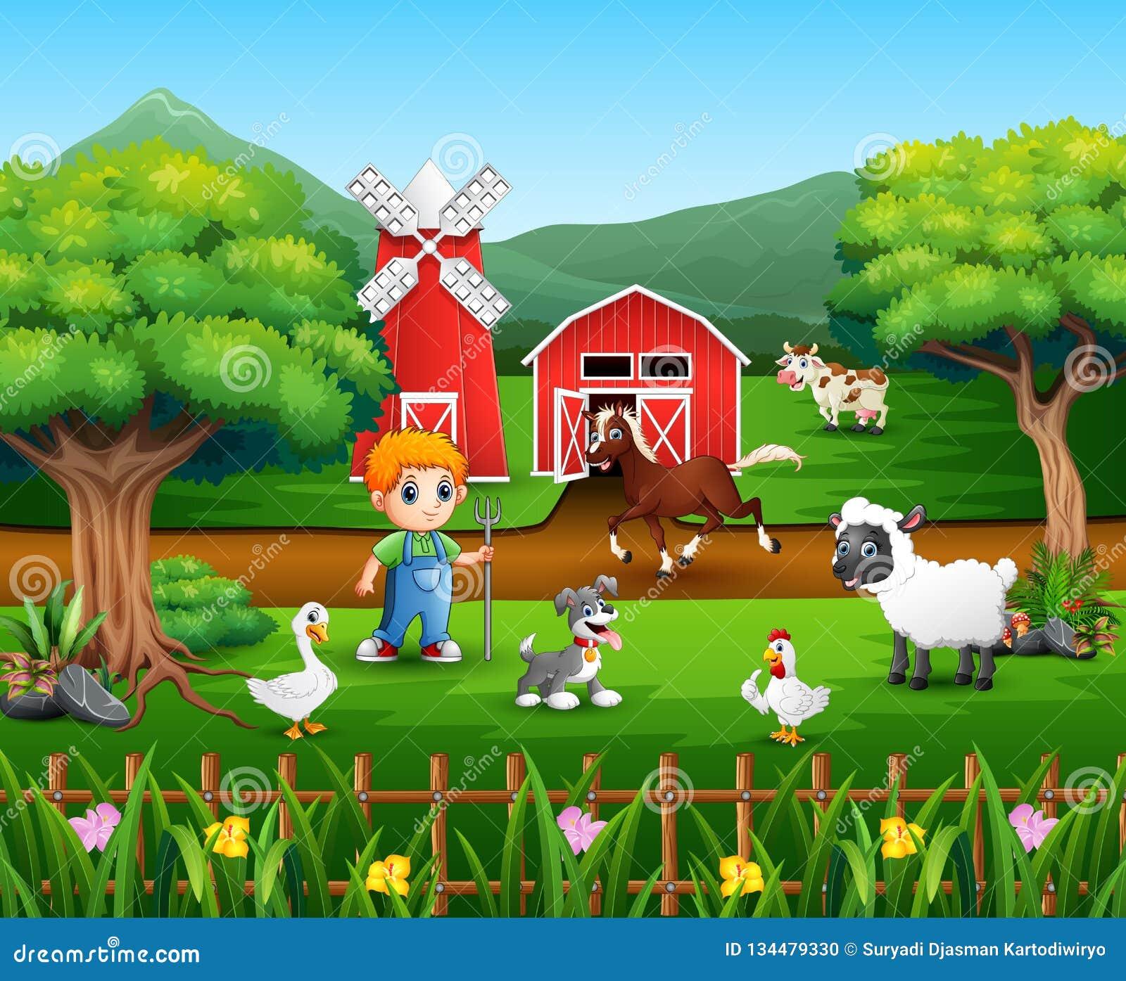Kreskówka rolnik przy jego gospodarstwem rolnym z wiązką zwierzęta gospodarskie