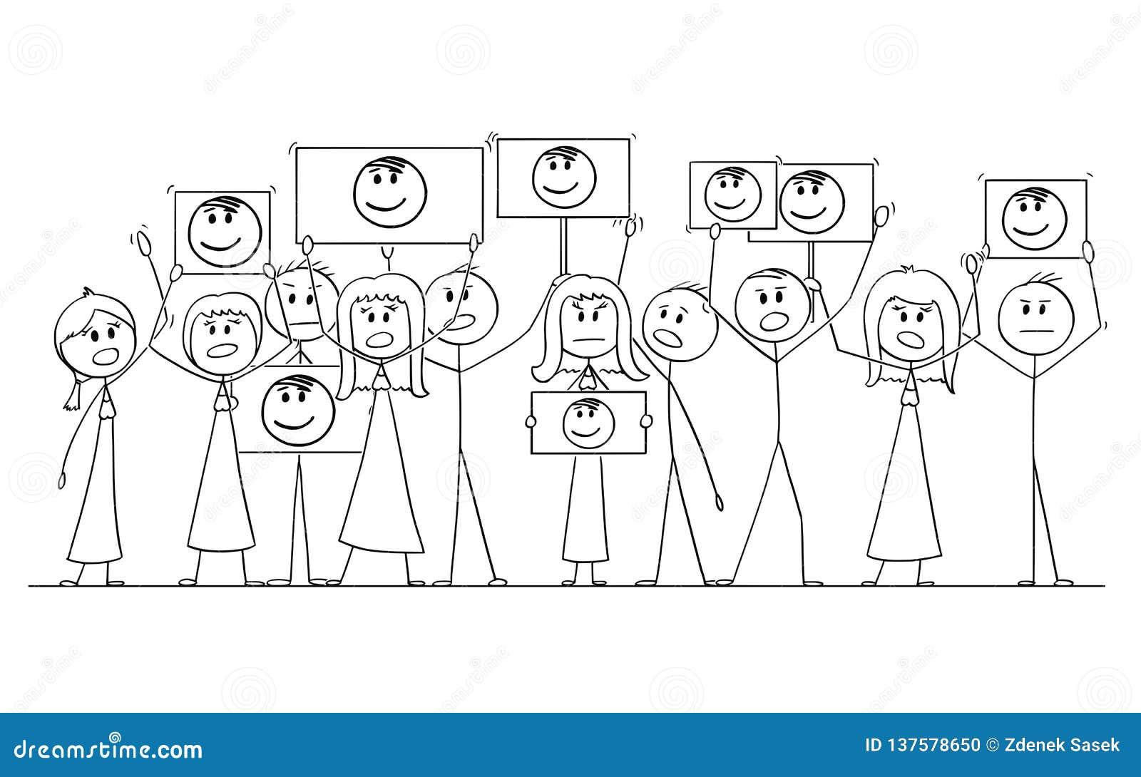 Kreskówka rysunek Demonstruje Z portretem Politian lub liderem w rękach grupa ludzi