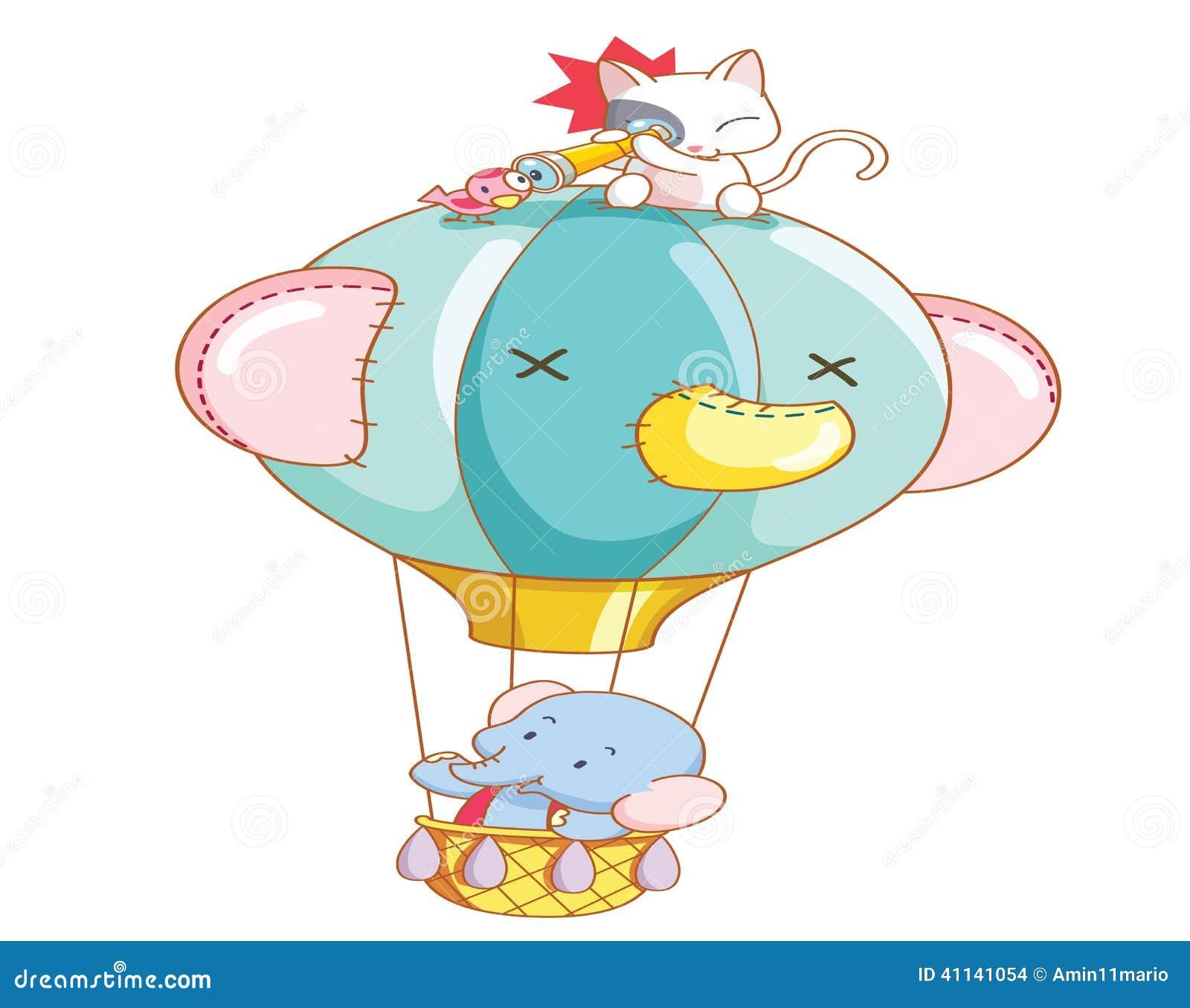 Kreskówka słoń i kot byliśmy lotniczego balonu przejażdżką