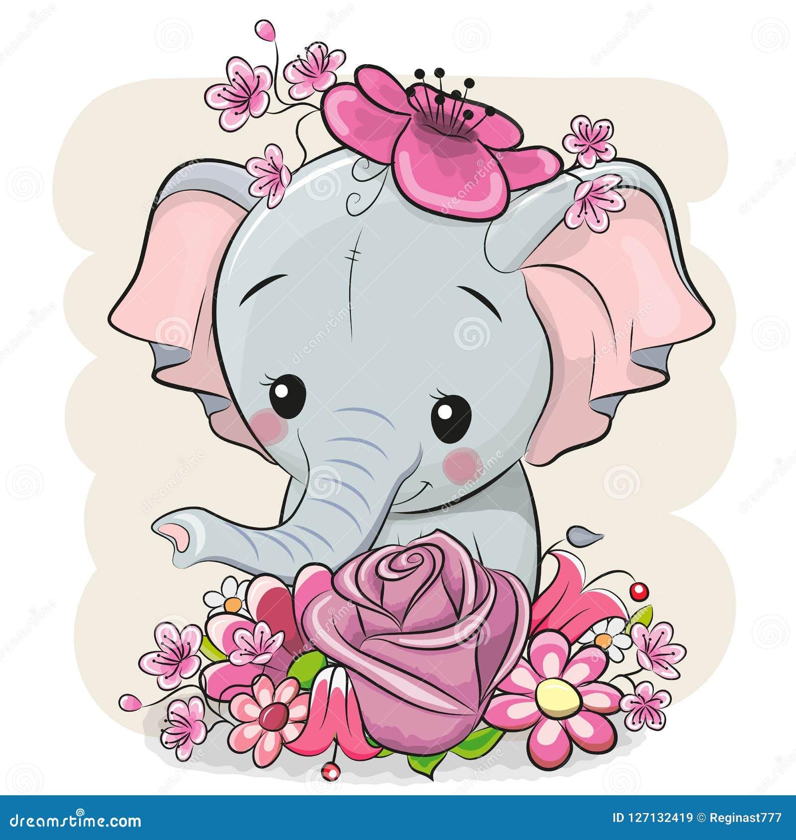 Kreskówka słoń z flowerson biały tło