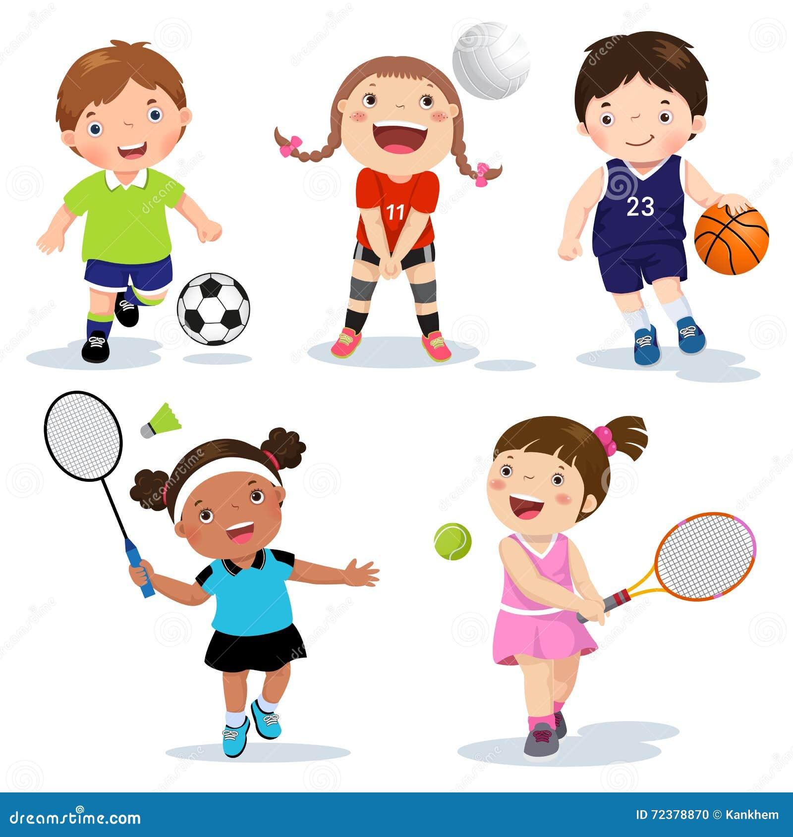 Kreskówka sportów różnorodni dzieciaki na białym tle