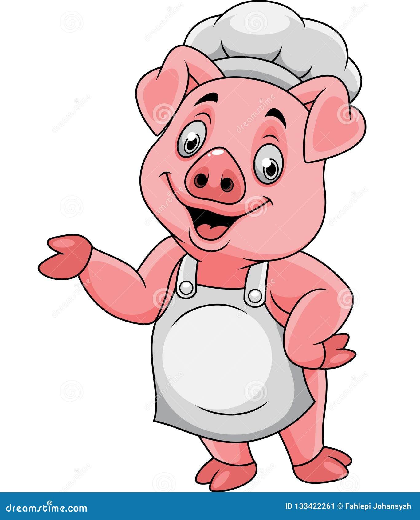 Kreskówka szefa kuchni szczęśliwy świniowaty przedstawiać