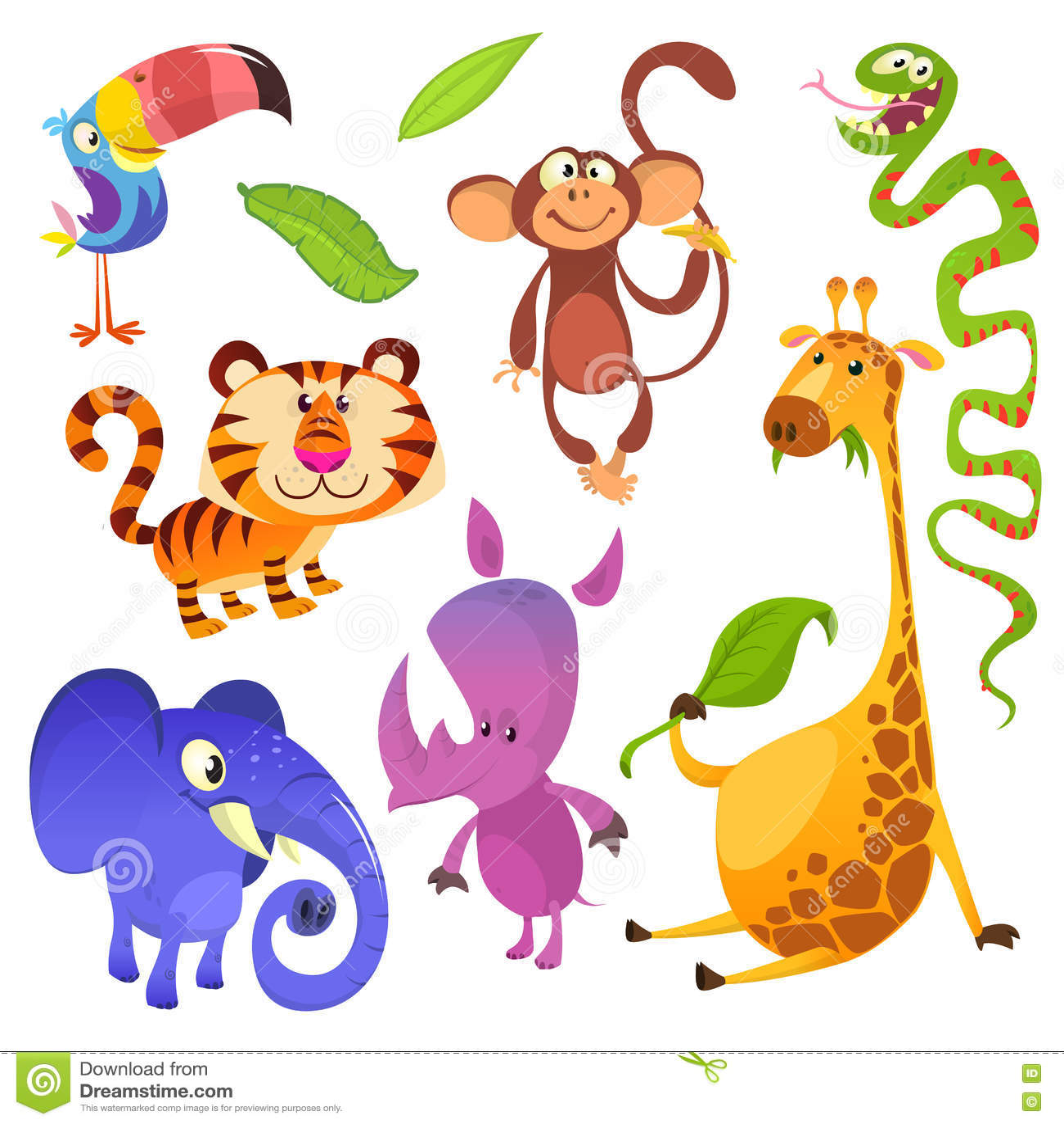 Kreskówka tropikalni zwierzęcy charaktery Dzikiej kreskówki zwierząt śliczne kolekcje wektorowe Duży set kreskówki dżungli zwierz