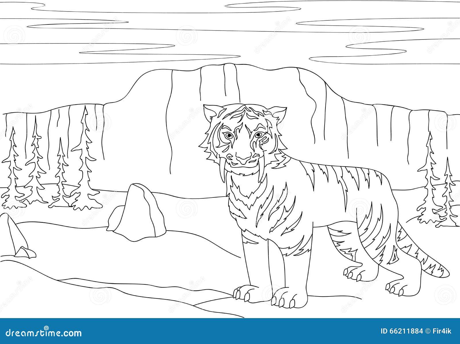 Kreskówka uzębiony tygrys na tle prehistoryczny n