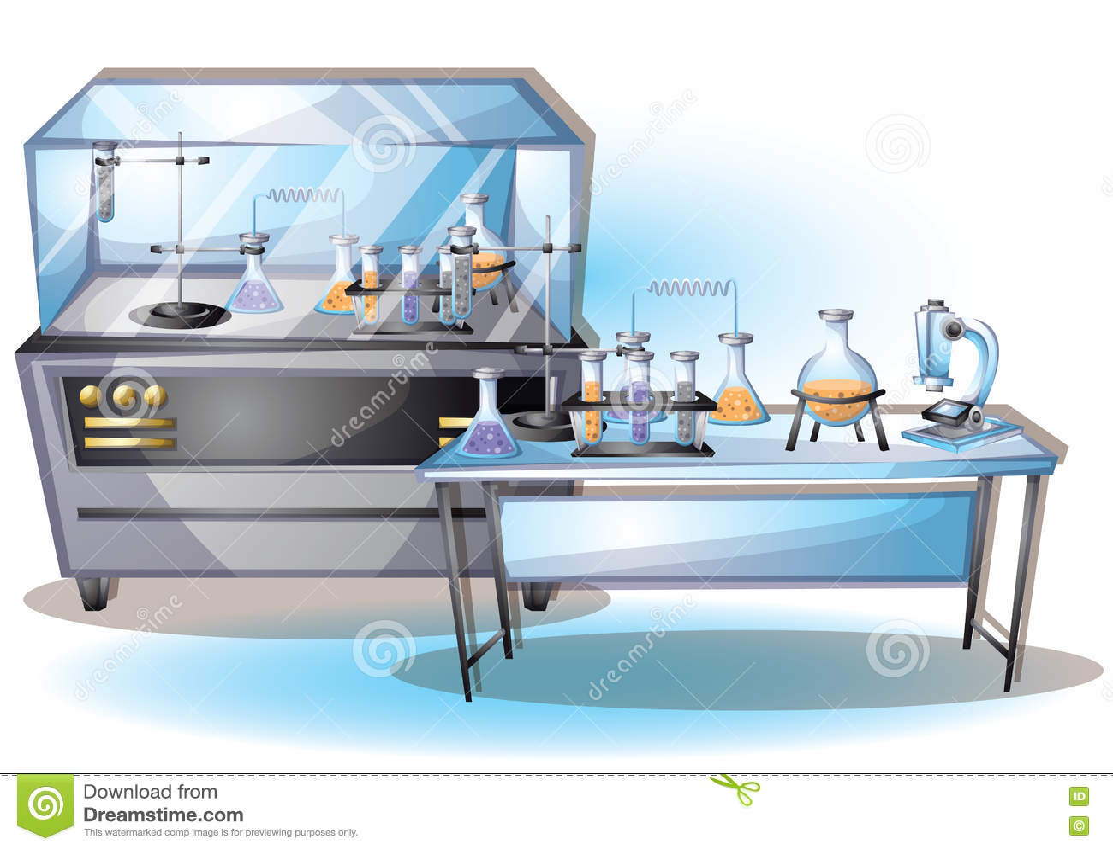 Kreskówka wektorowy ilustracyjny laborancki wewnętrzny pokój z oddzielonymi warstwami