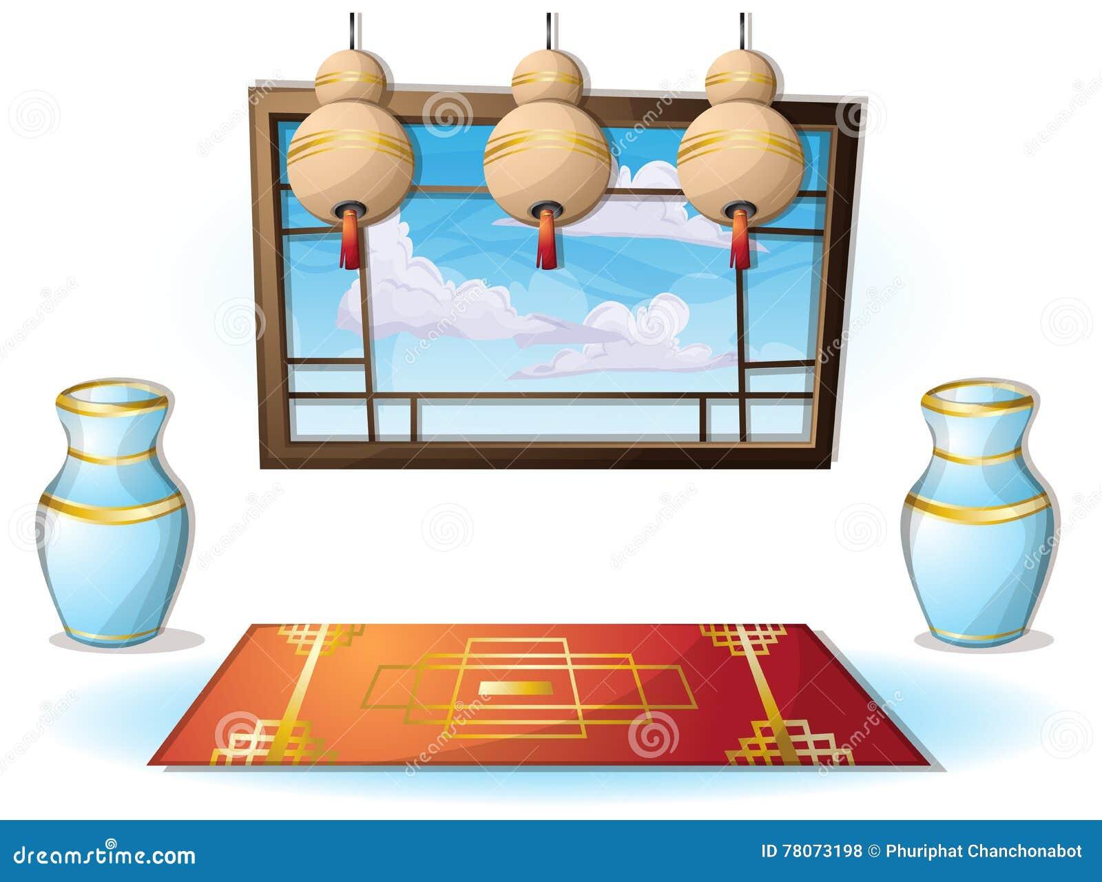 Kreskówka wektorowy ilustracyjny wewnętrzny chiński pokój z oddzielonymi warstwami