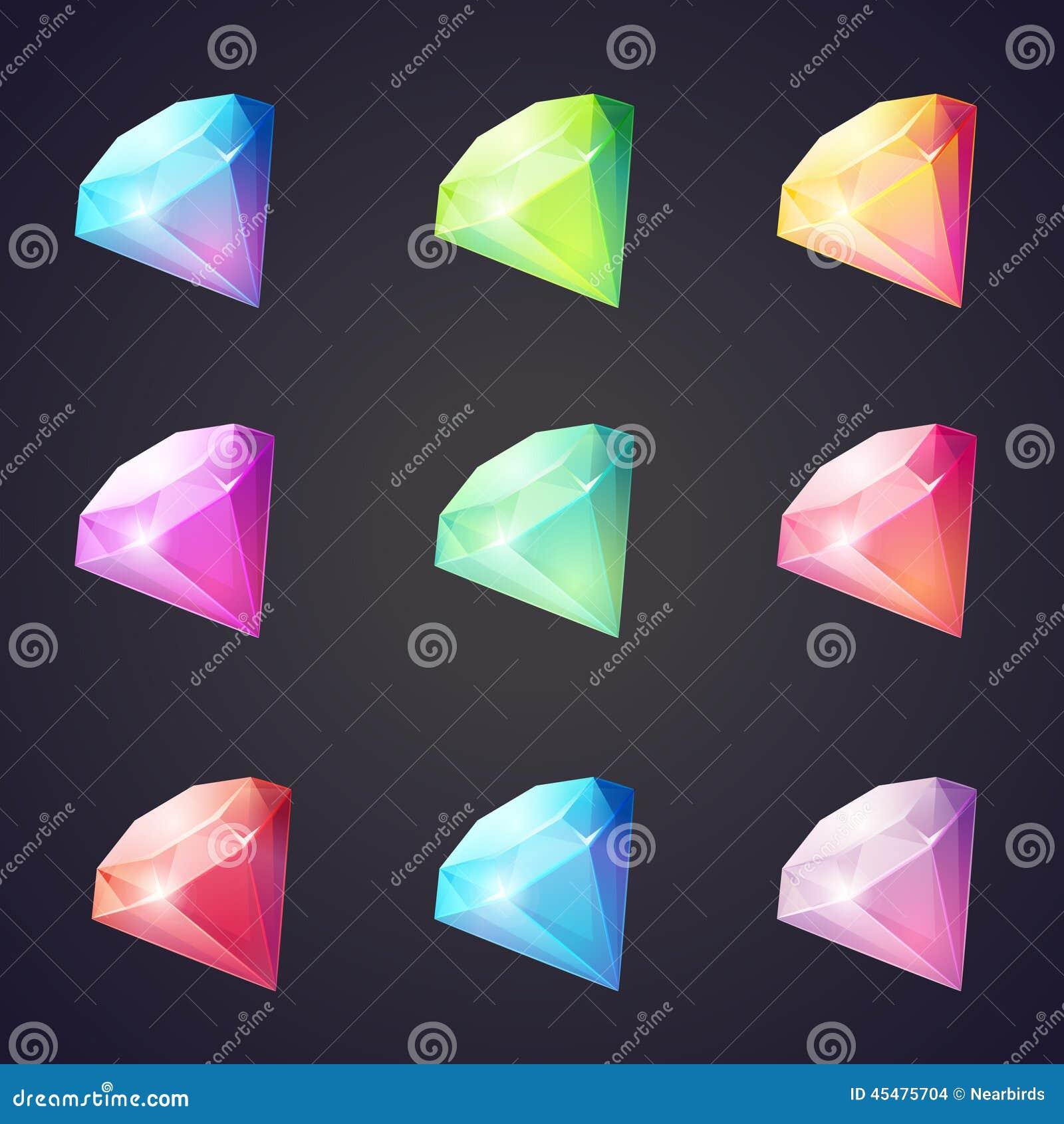 Kreskówka wizerunek klejnoty i diamenty różni kolory na czarnym tle dla gier komputerowych