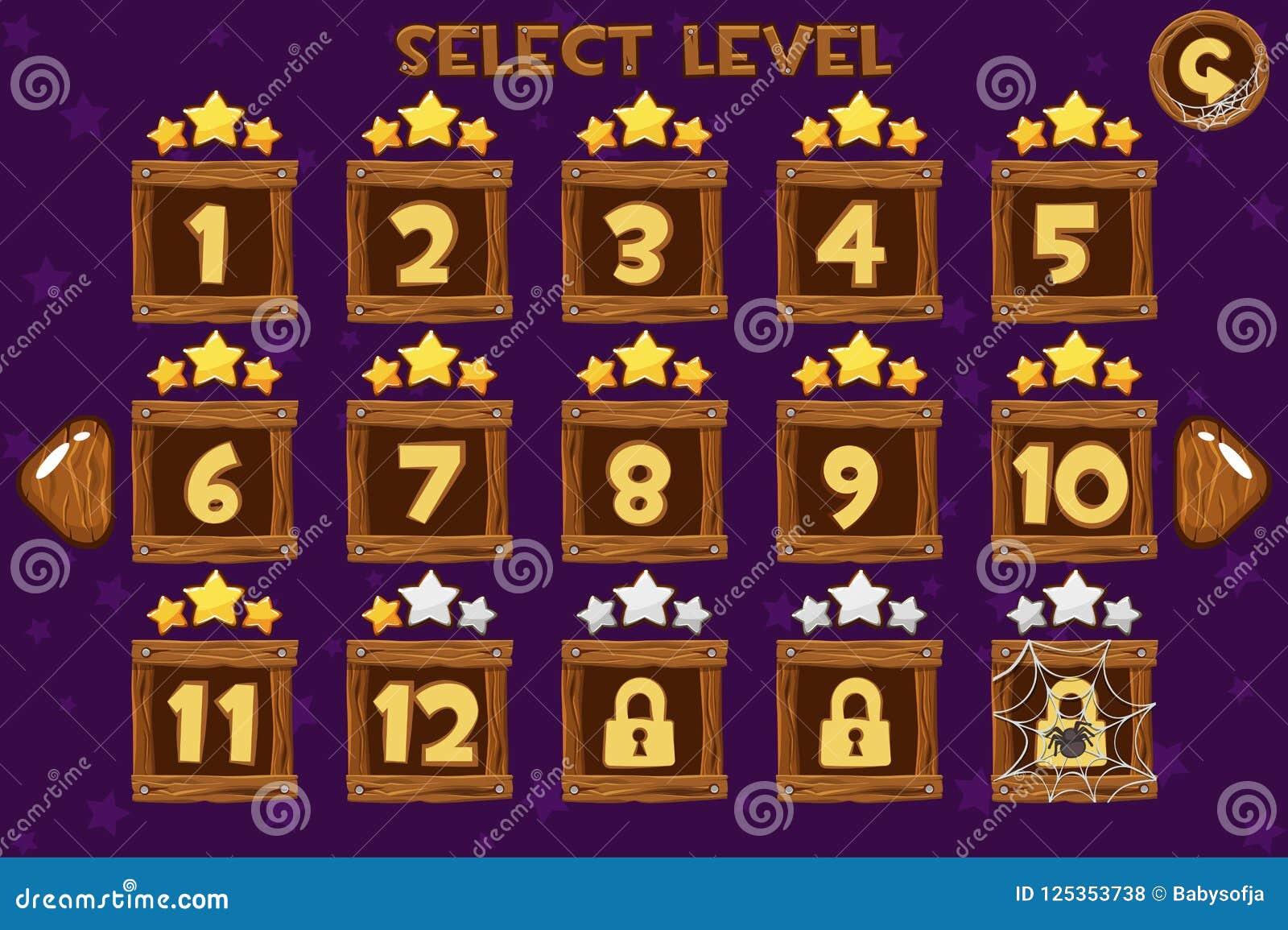 Kreskówka wyboru Drewniany Równy ekran Gry UI set