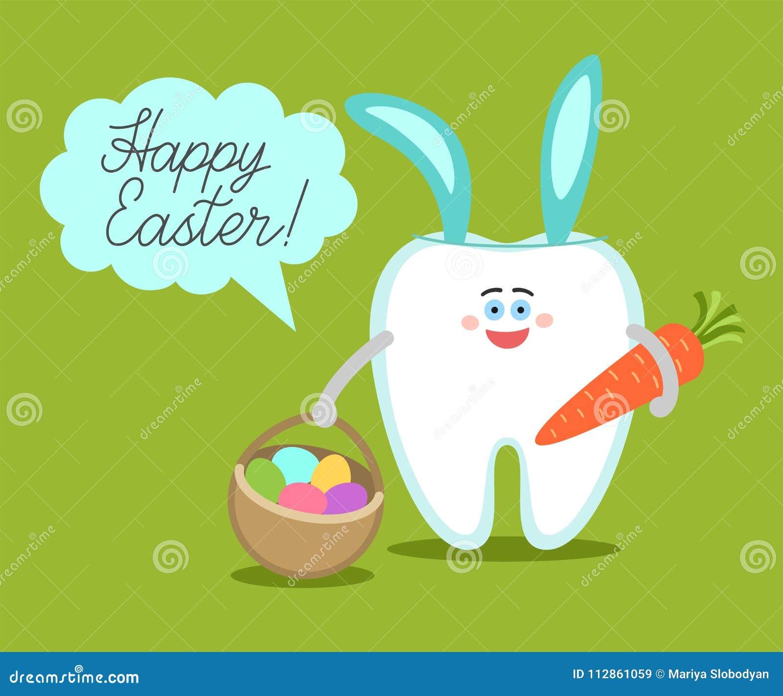 Kreskówka ząb z królików ucho trzyma kosza z jajkami i marchewki