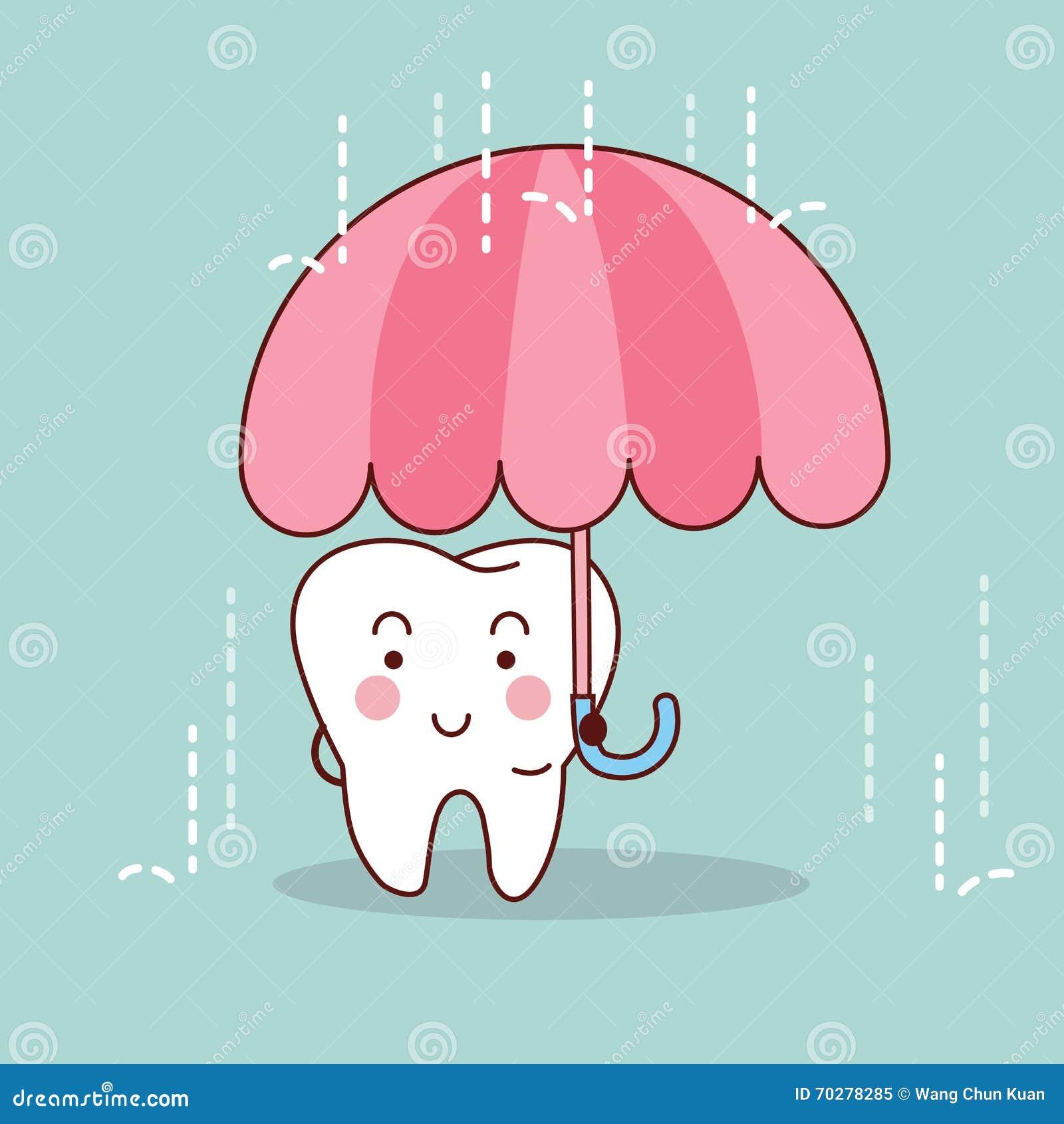 Kreskówka ząb z parasolem