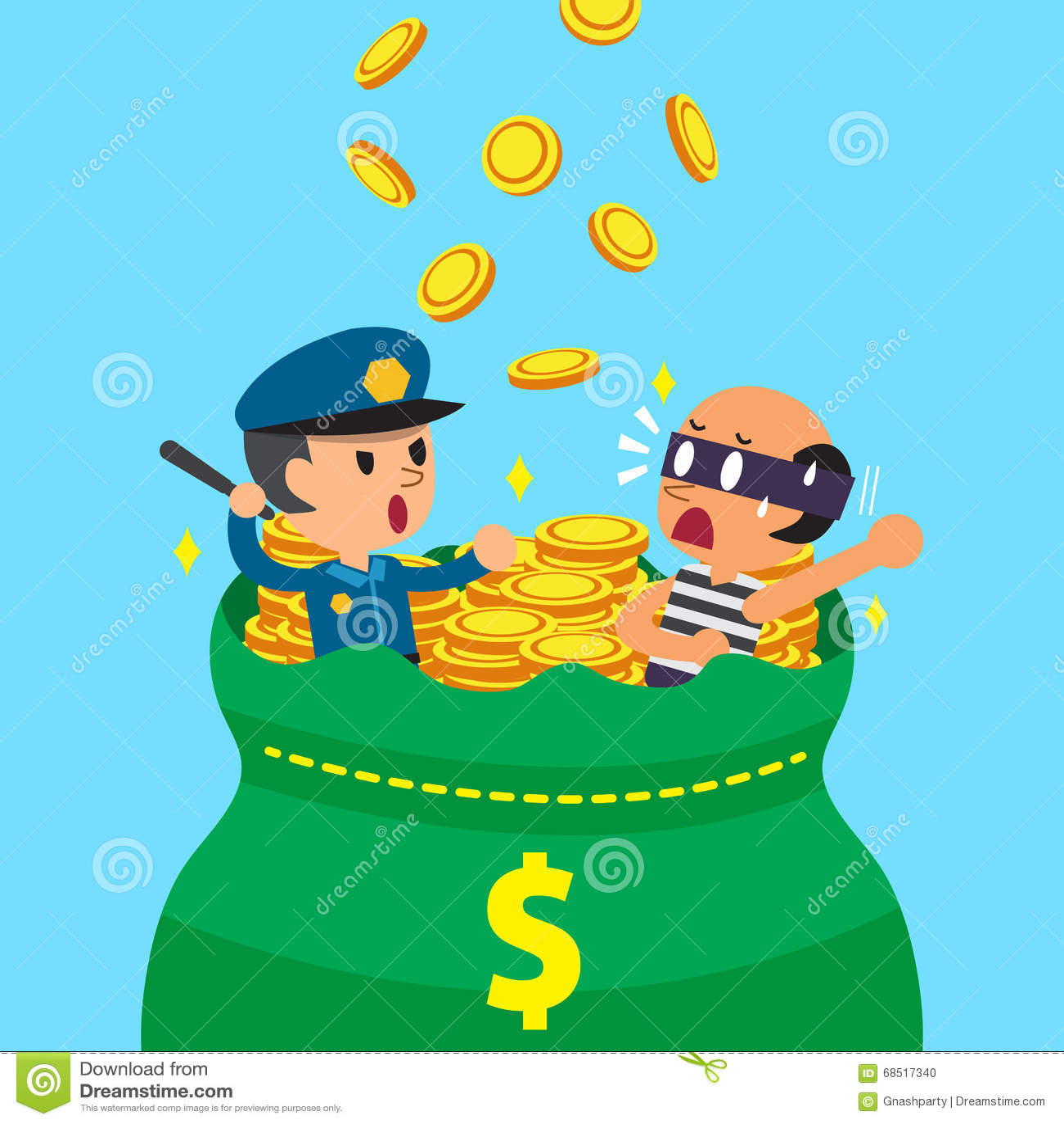 Kreskówka złodziej z dużym pieniądze i policjant zdojesteśmy