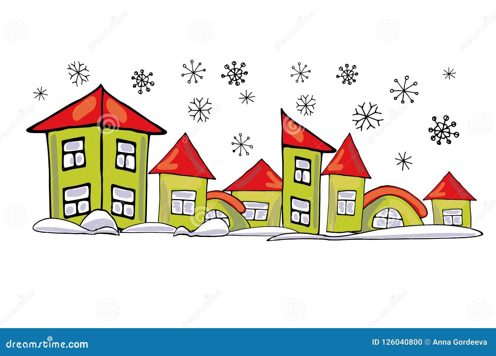 Kreskówka zieleni domy różni kształty na białym tle w snowdrifts majcheru nowy rok