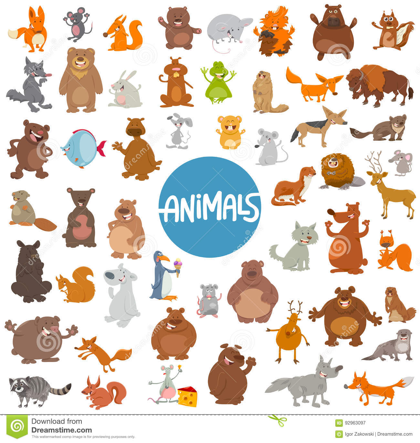 Kreskówka zwierzęcych charakterów ogromny set